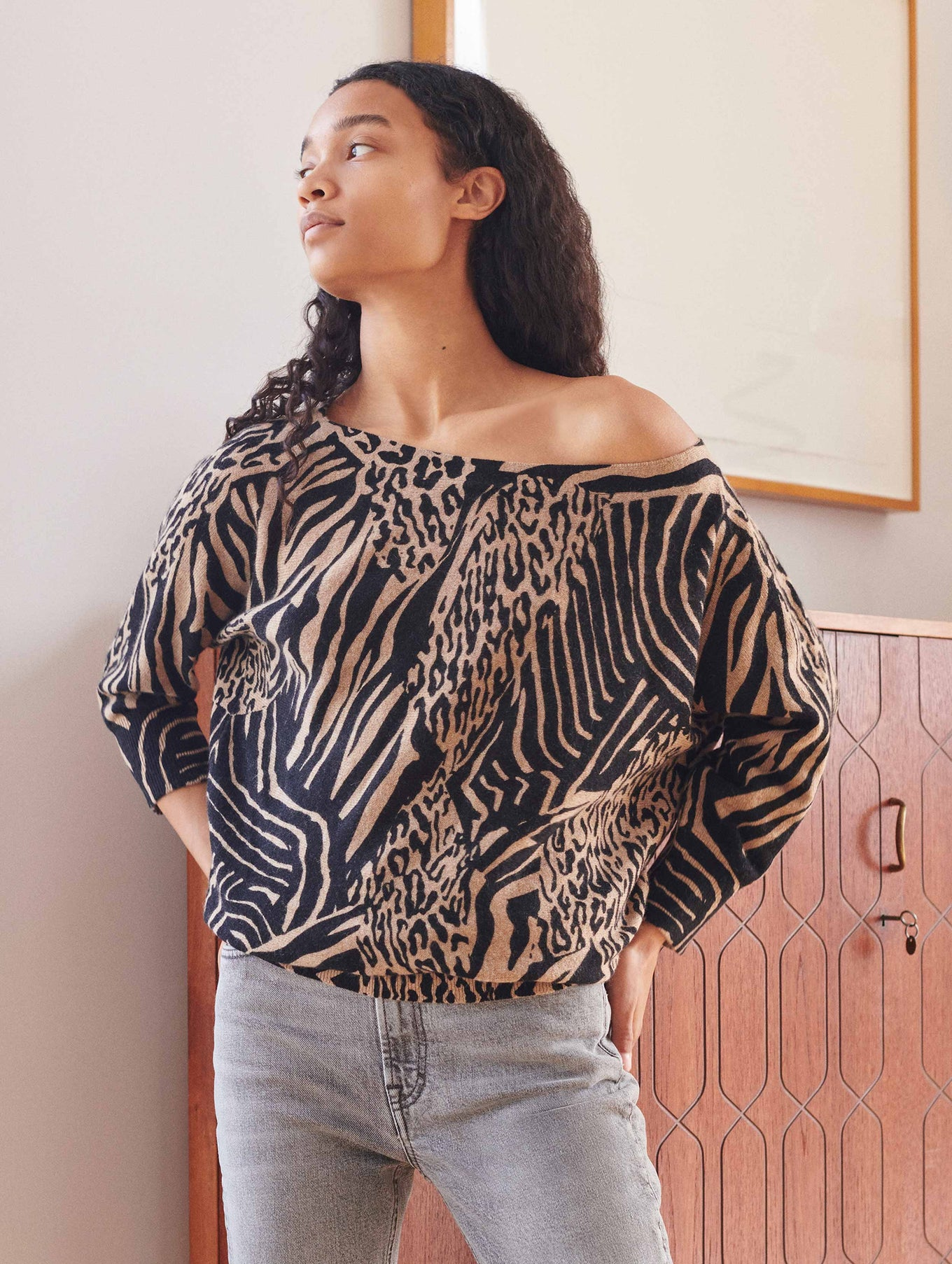 Cashmere Animal Print Off The Shoulder Crewneck