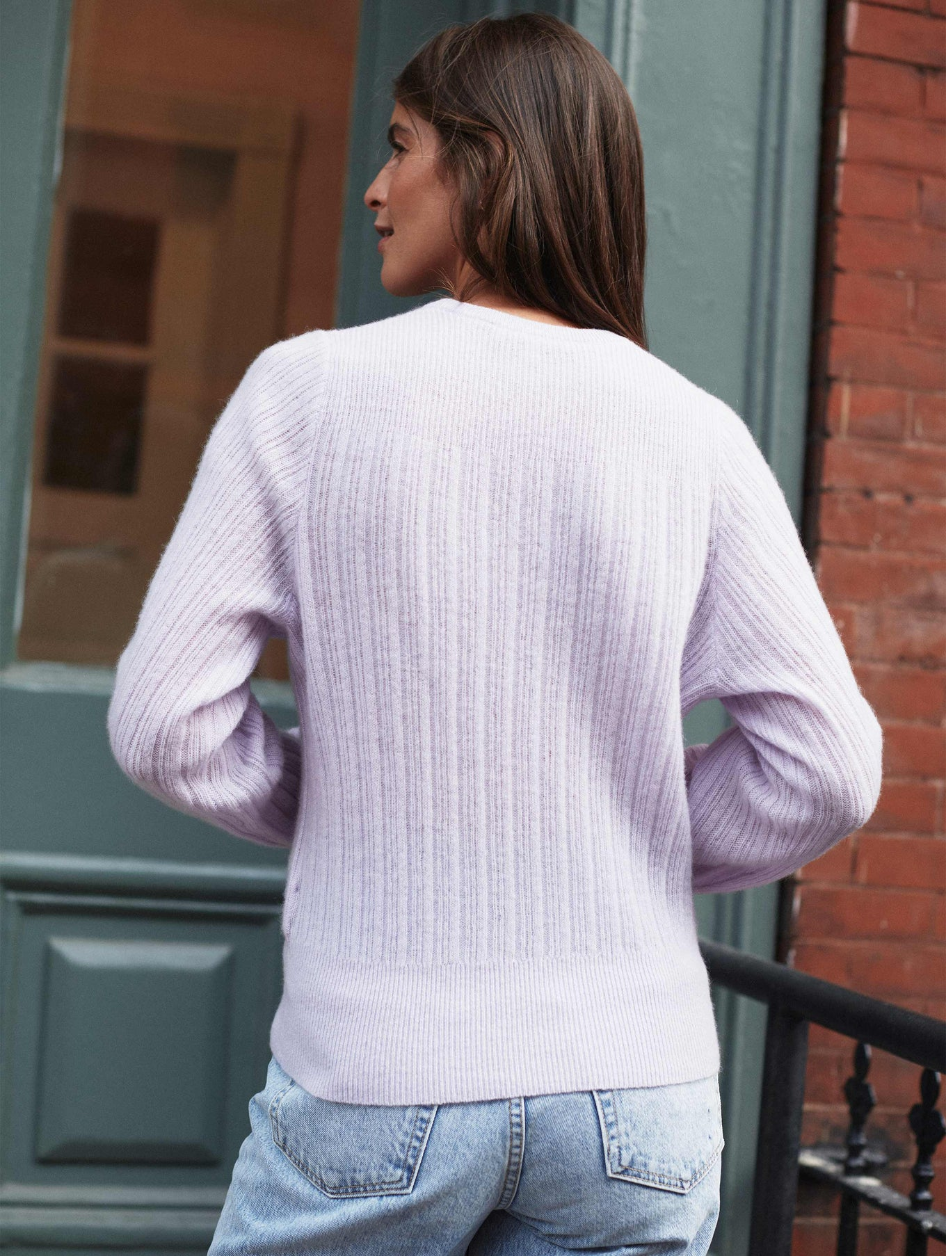 Cashmere Tie Front Ribbed Sweater