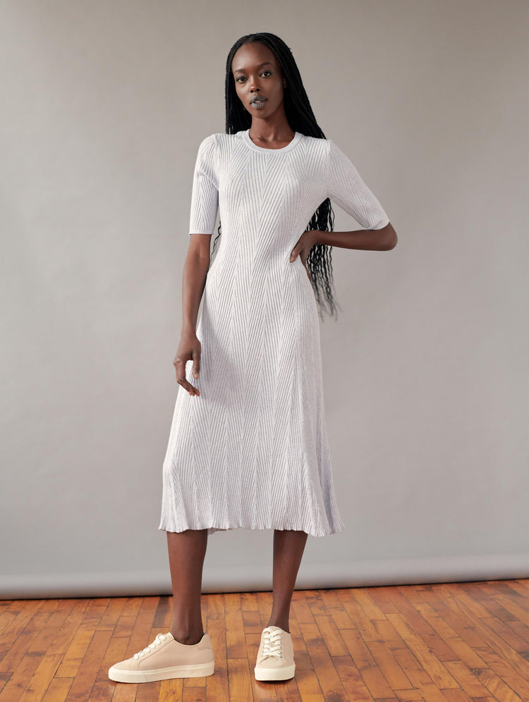 Cotton Chevron Stitch Midi Dress