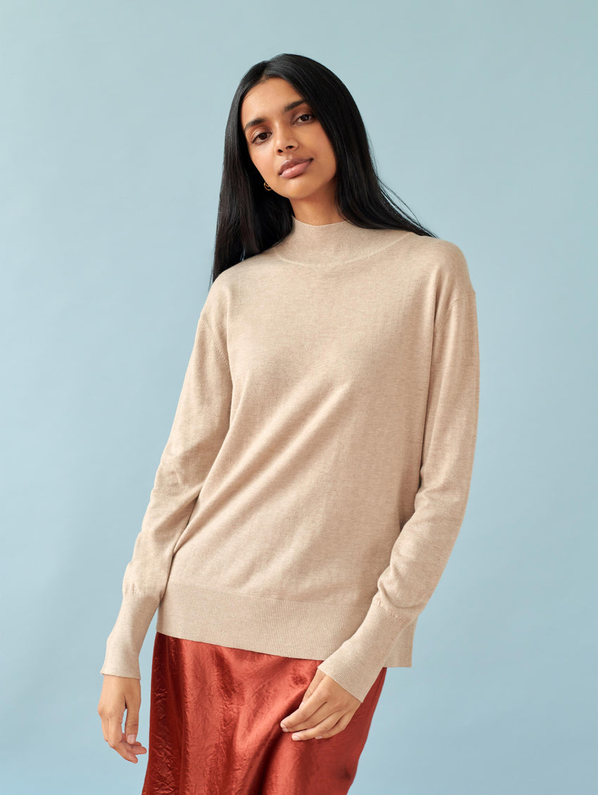 Cotton Ribbed Turtleneck
