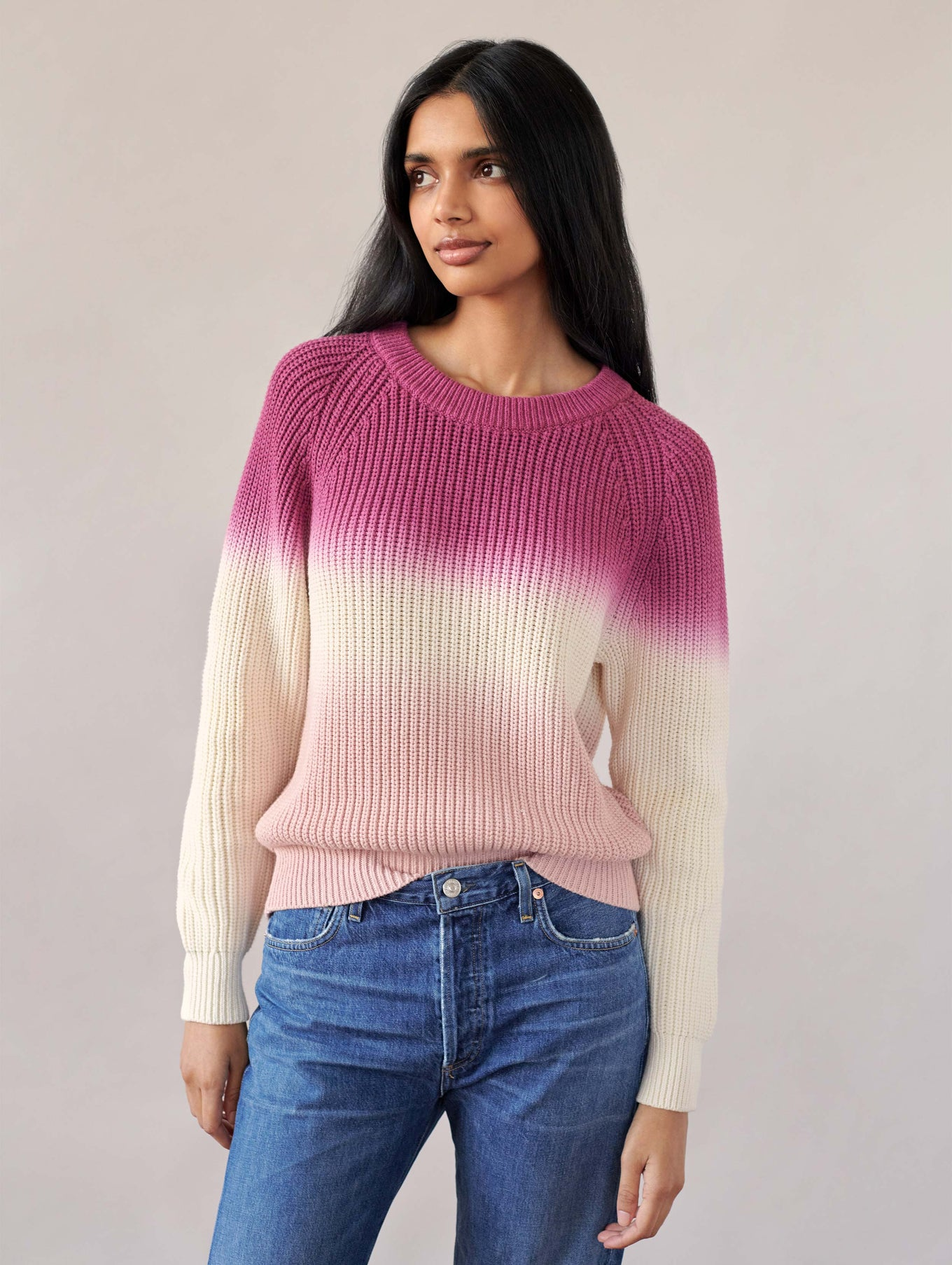 Cotton Dip Dye Ribbed Crewneck