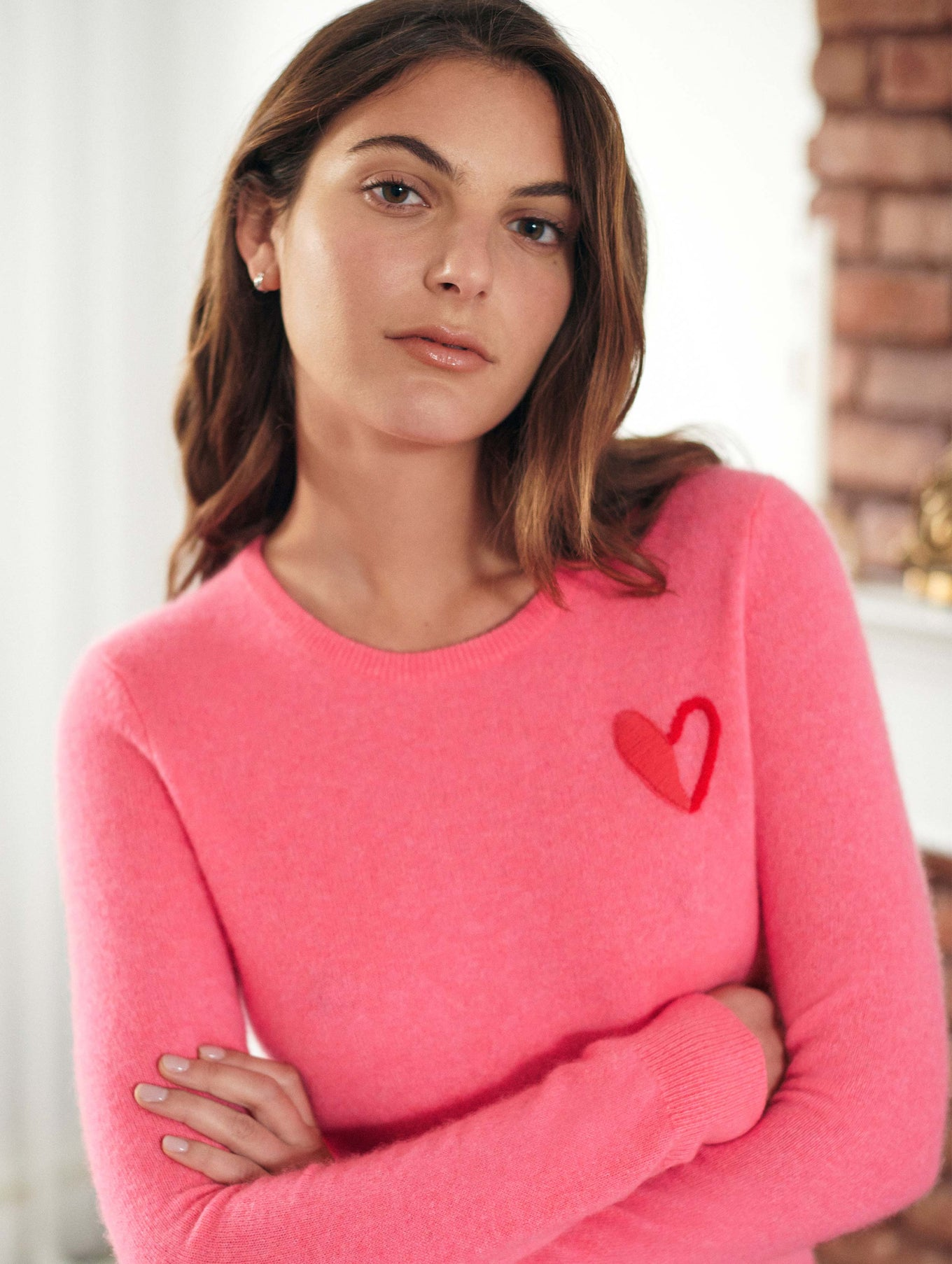 Go Red Cashmere Heart Crewneck