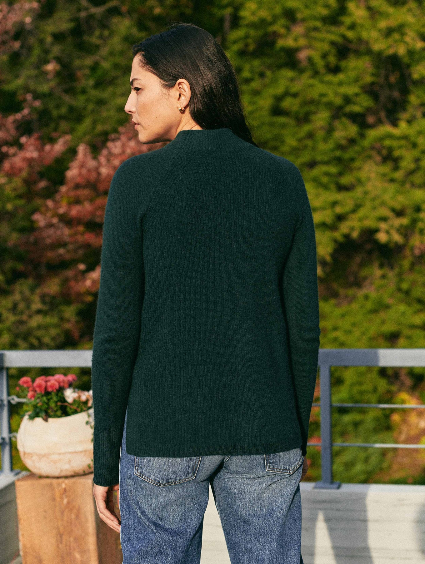 Cashmere Mixed Stitch Standneck