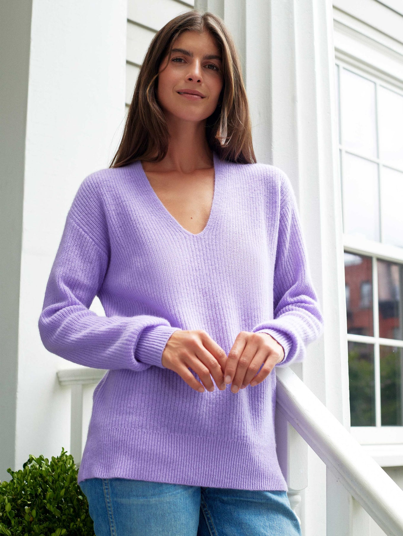 Cashmere Ribbed V Neck