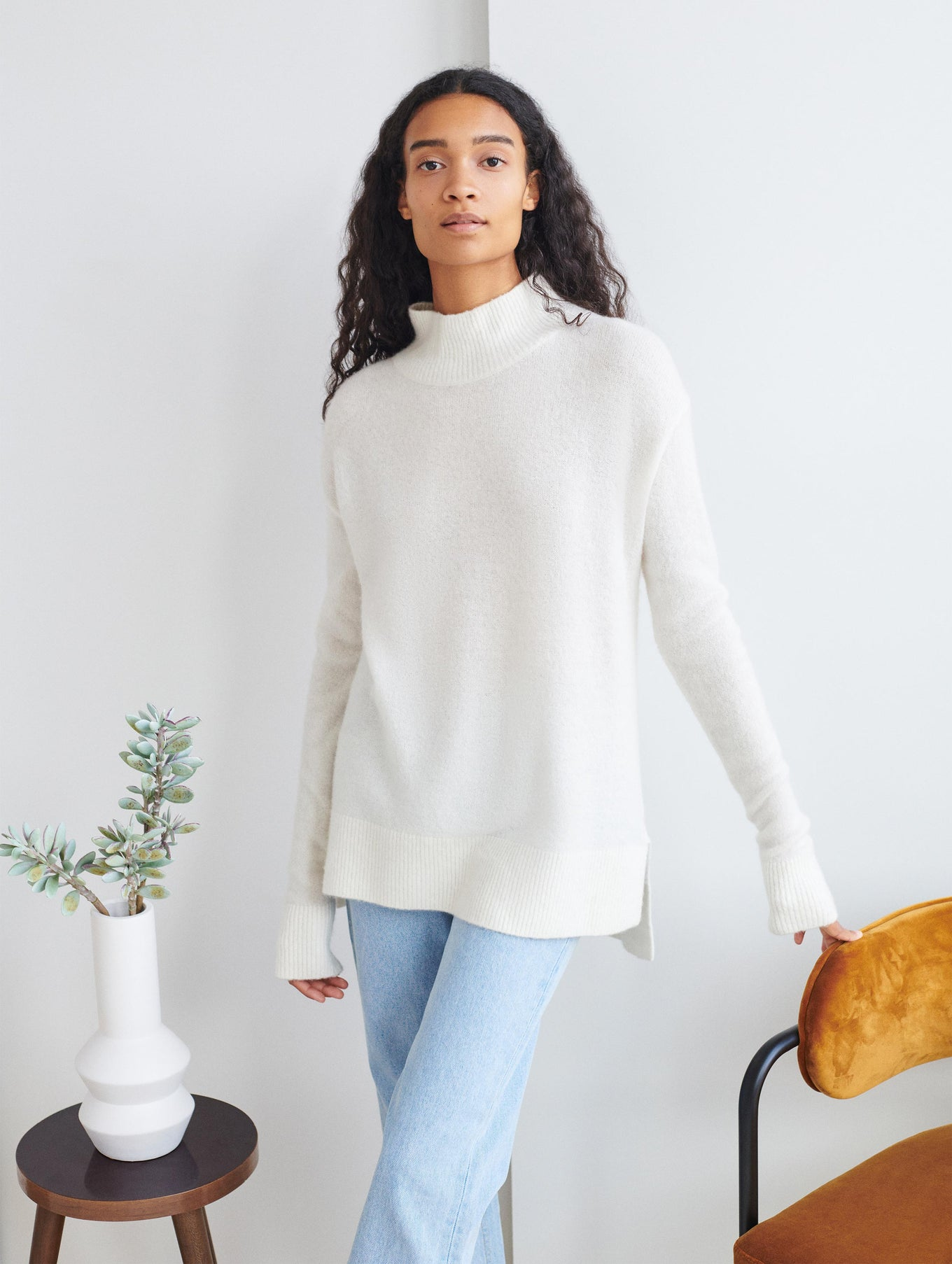 Cuddle Cashmere Blend Standneck Sweater