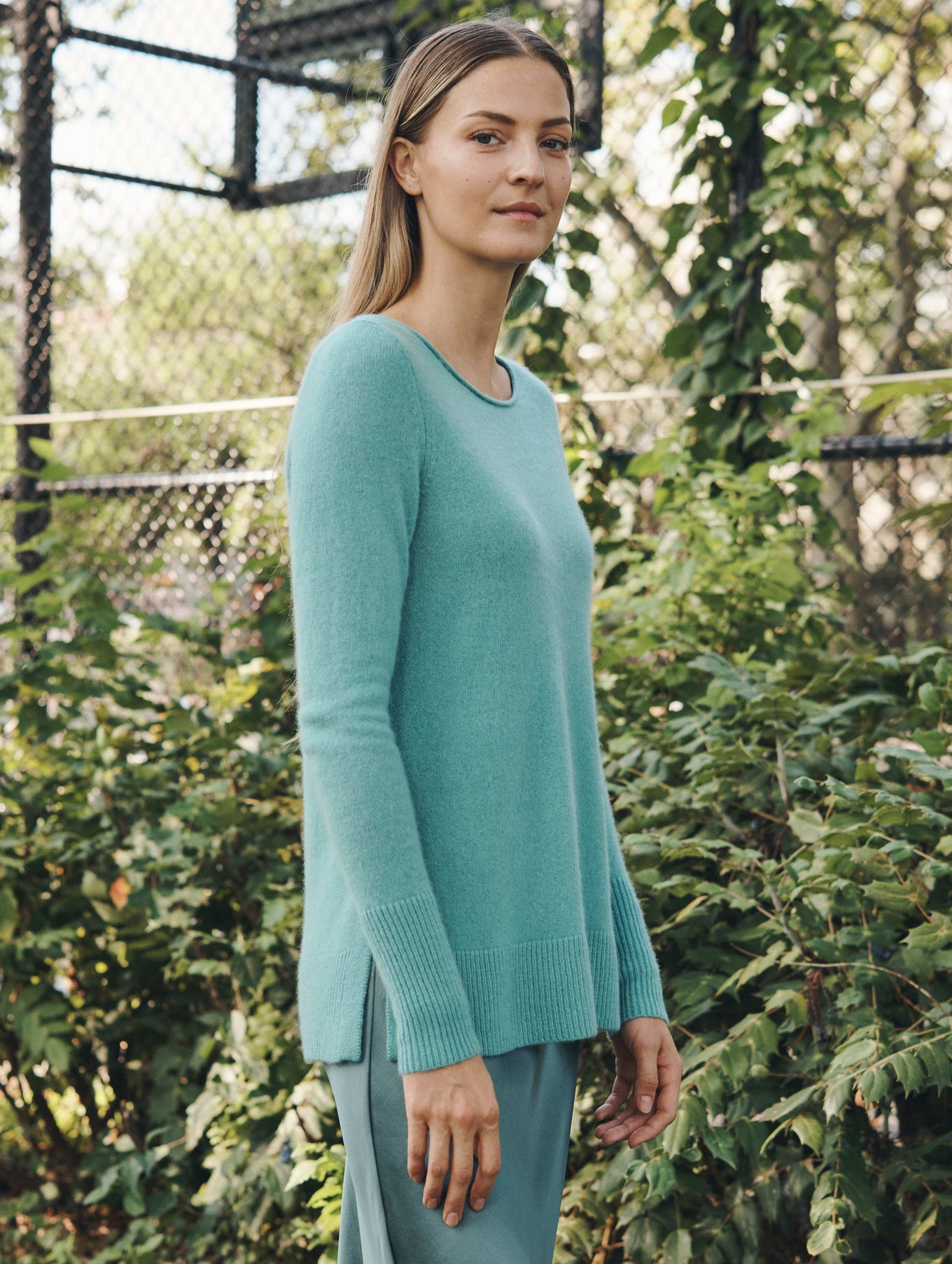 Cashmere Side Split Open Crewneck