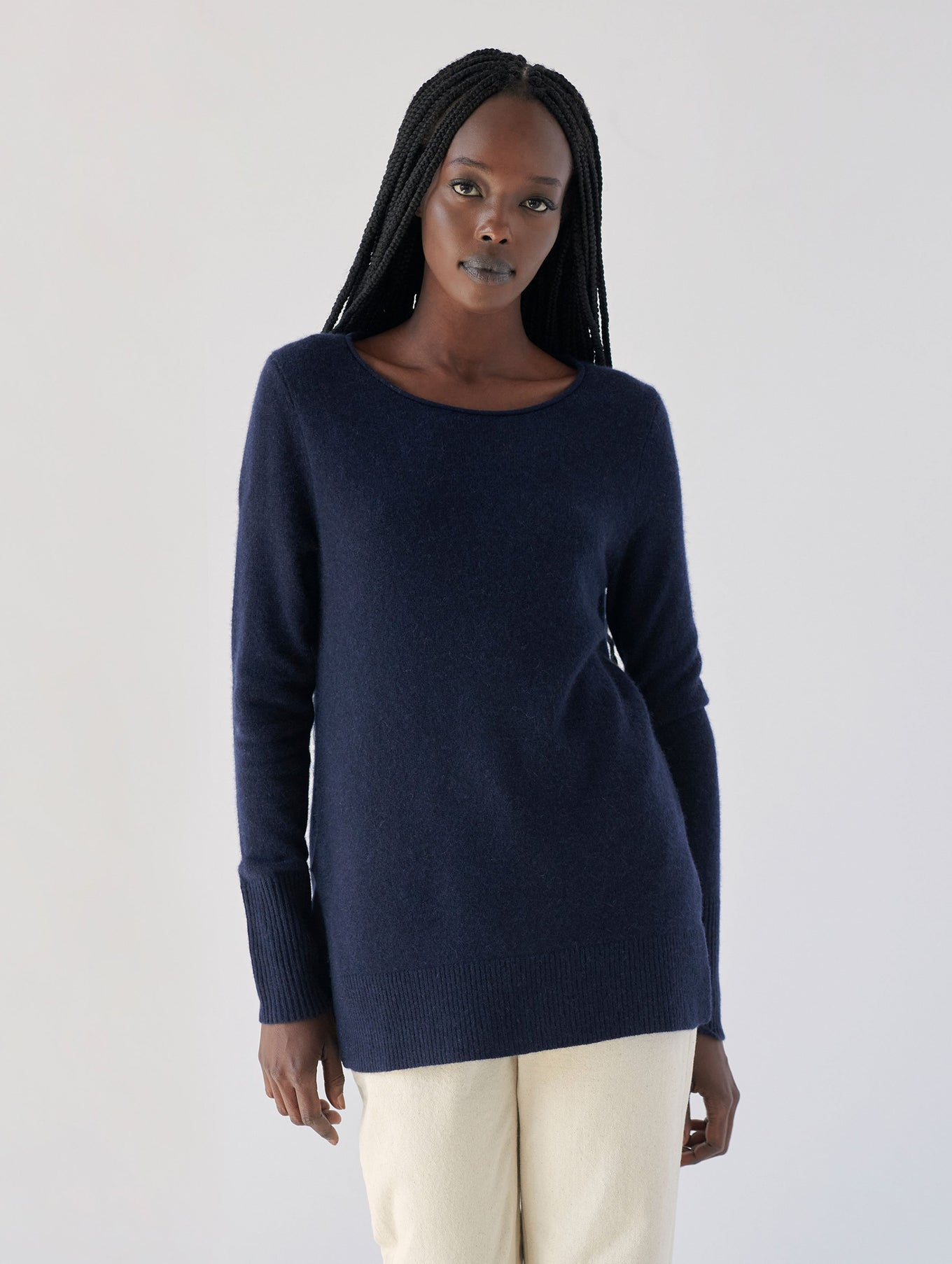 Cashmere Side Slit Open Crewneck