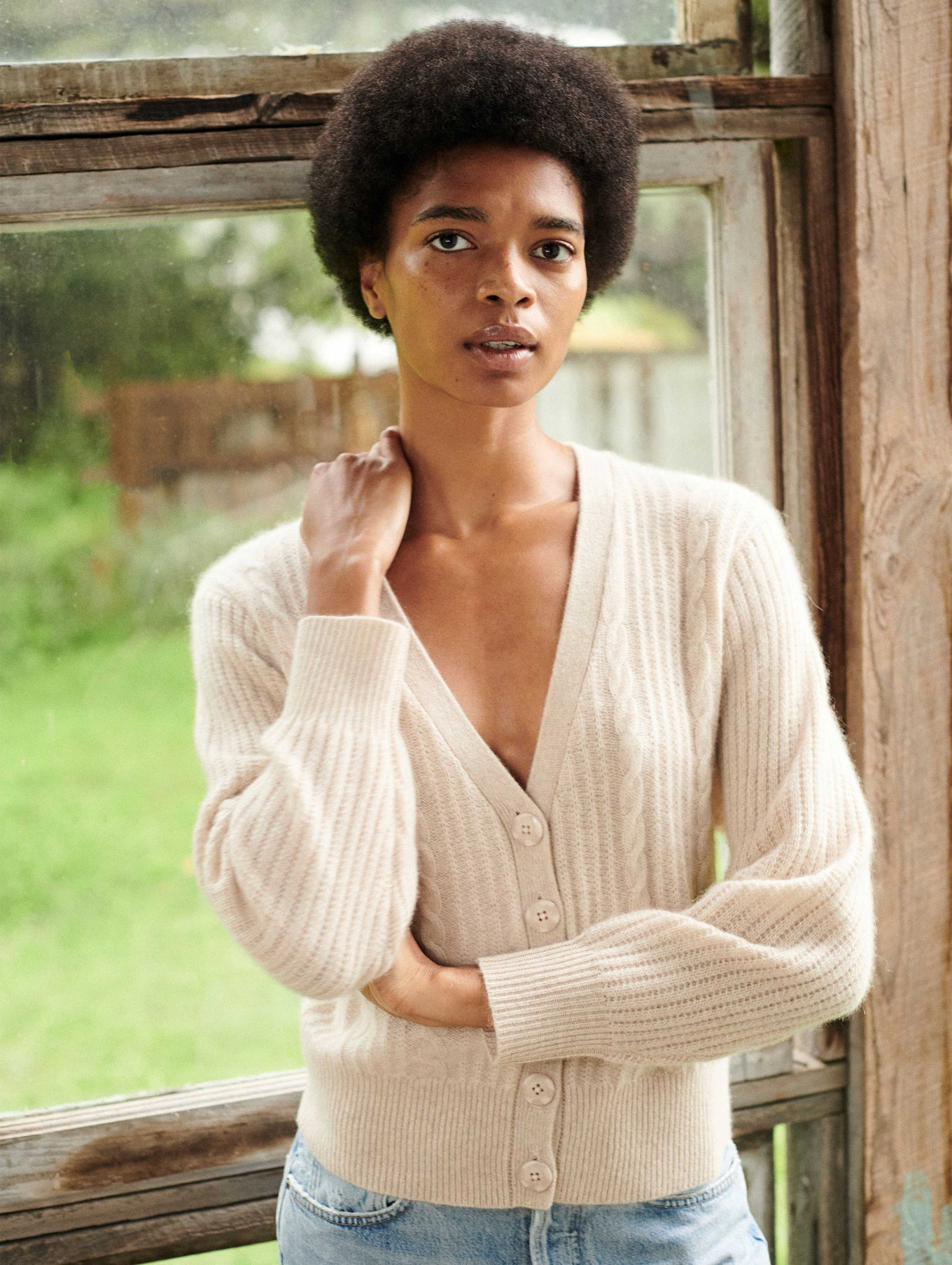 Cashmere Cable V Neck Cardigan