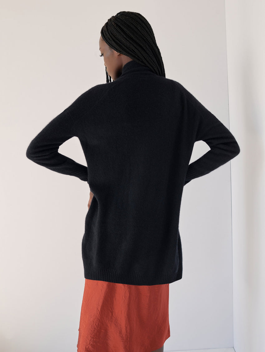 Cashmere Ribbed Placket Open Cardigan