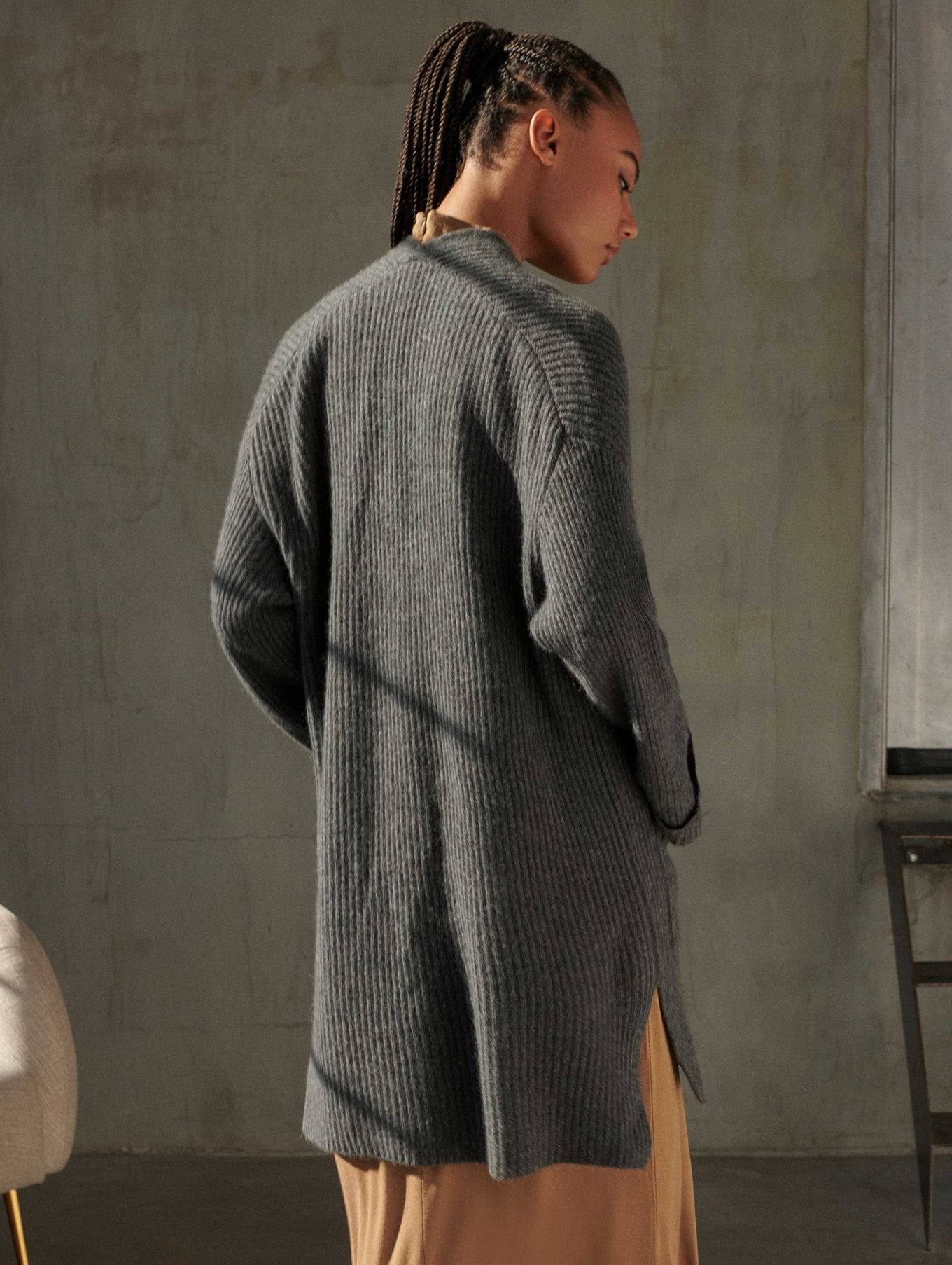 Luxe Cashmere Ribbed Open Cardigan