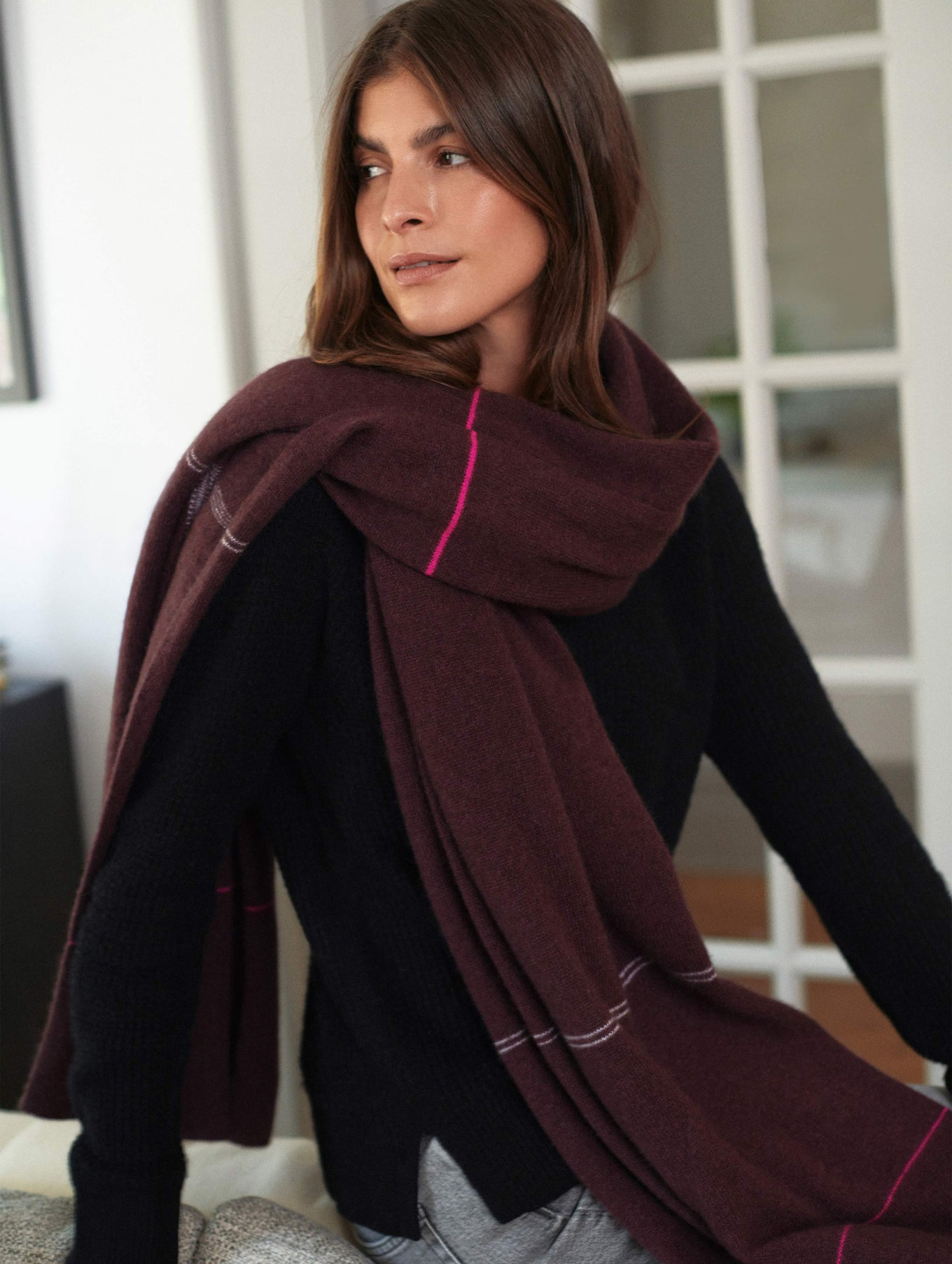 Cashmere Plaid Intarsia Travel Wrap