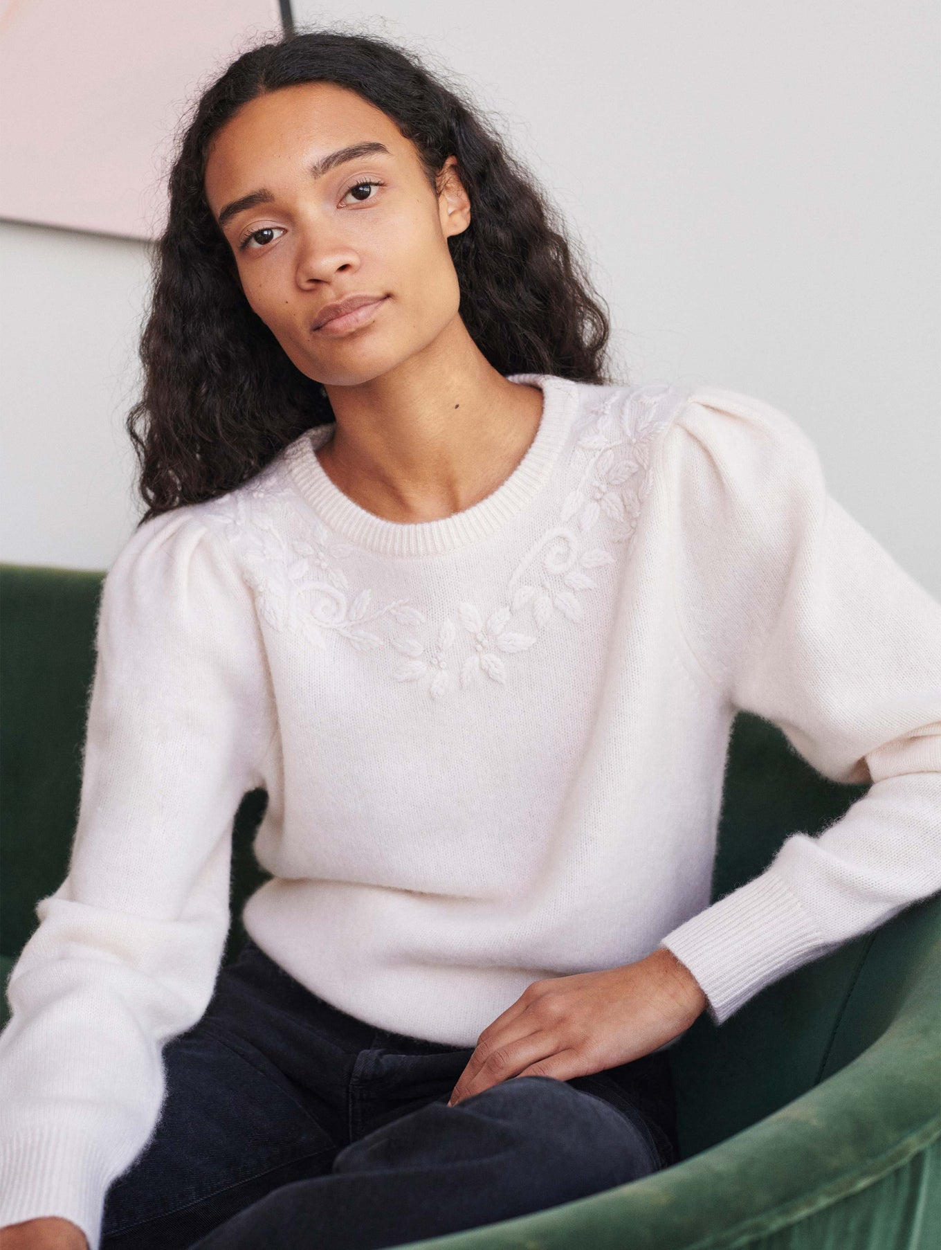 Cashmere Floral Hand Embroidered Crewneck
