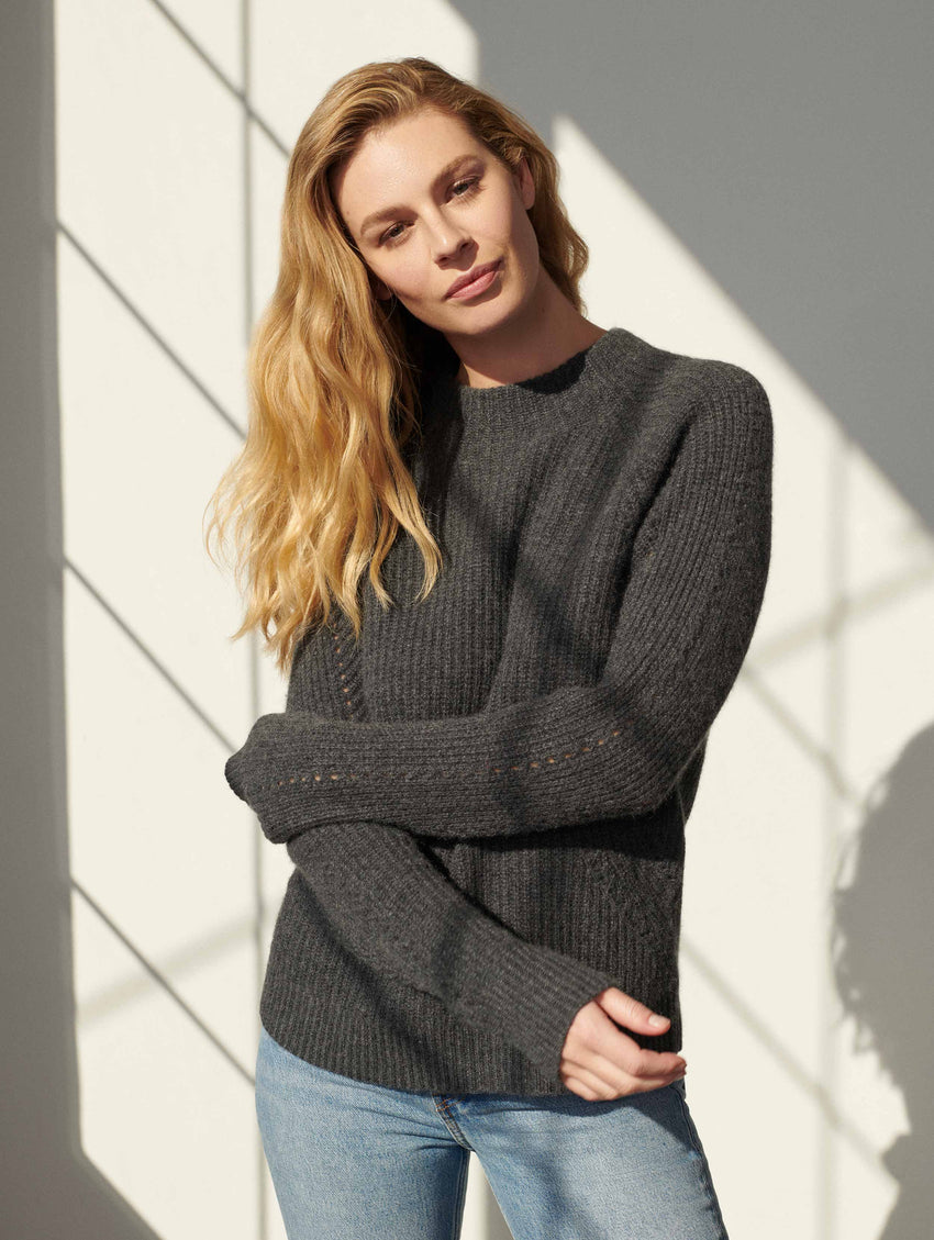 Luxe Cashmere Textured Mockneck