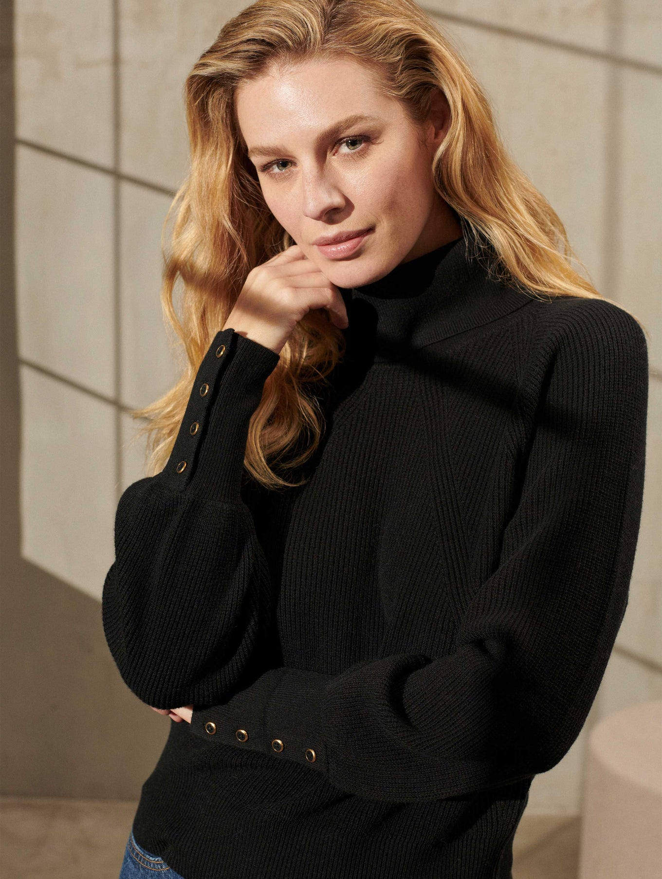 Cotton Button Cuff Turtleneck
