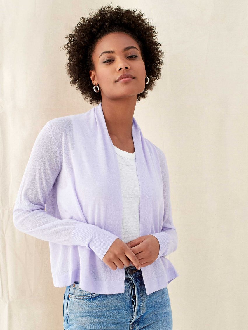 Linen Cropped Open Cardigan
