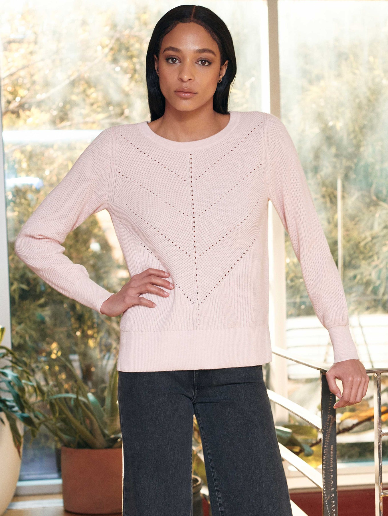 Cotton Chevron Pointelle Crewneck