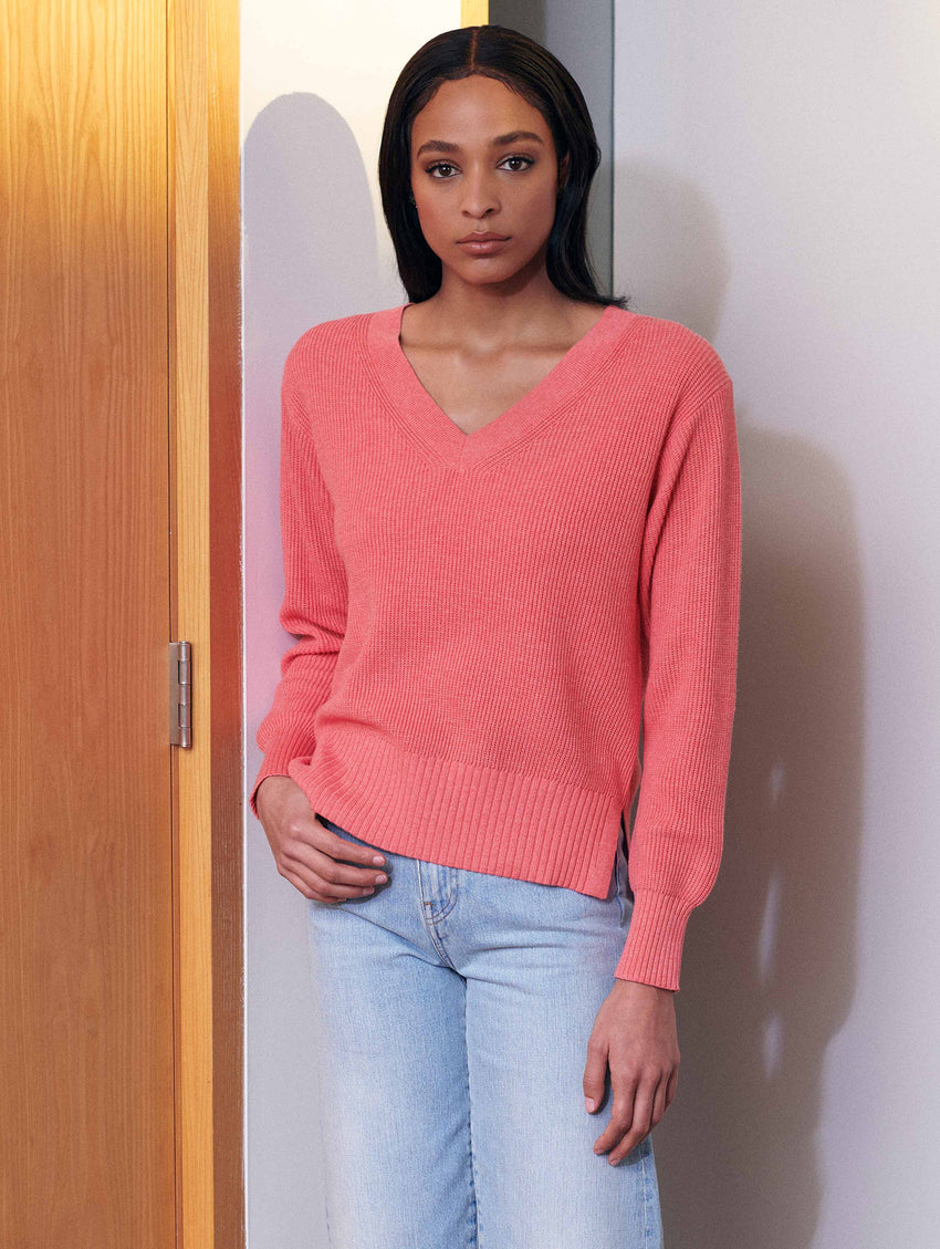 Cotton Textured Stitch V Neck