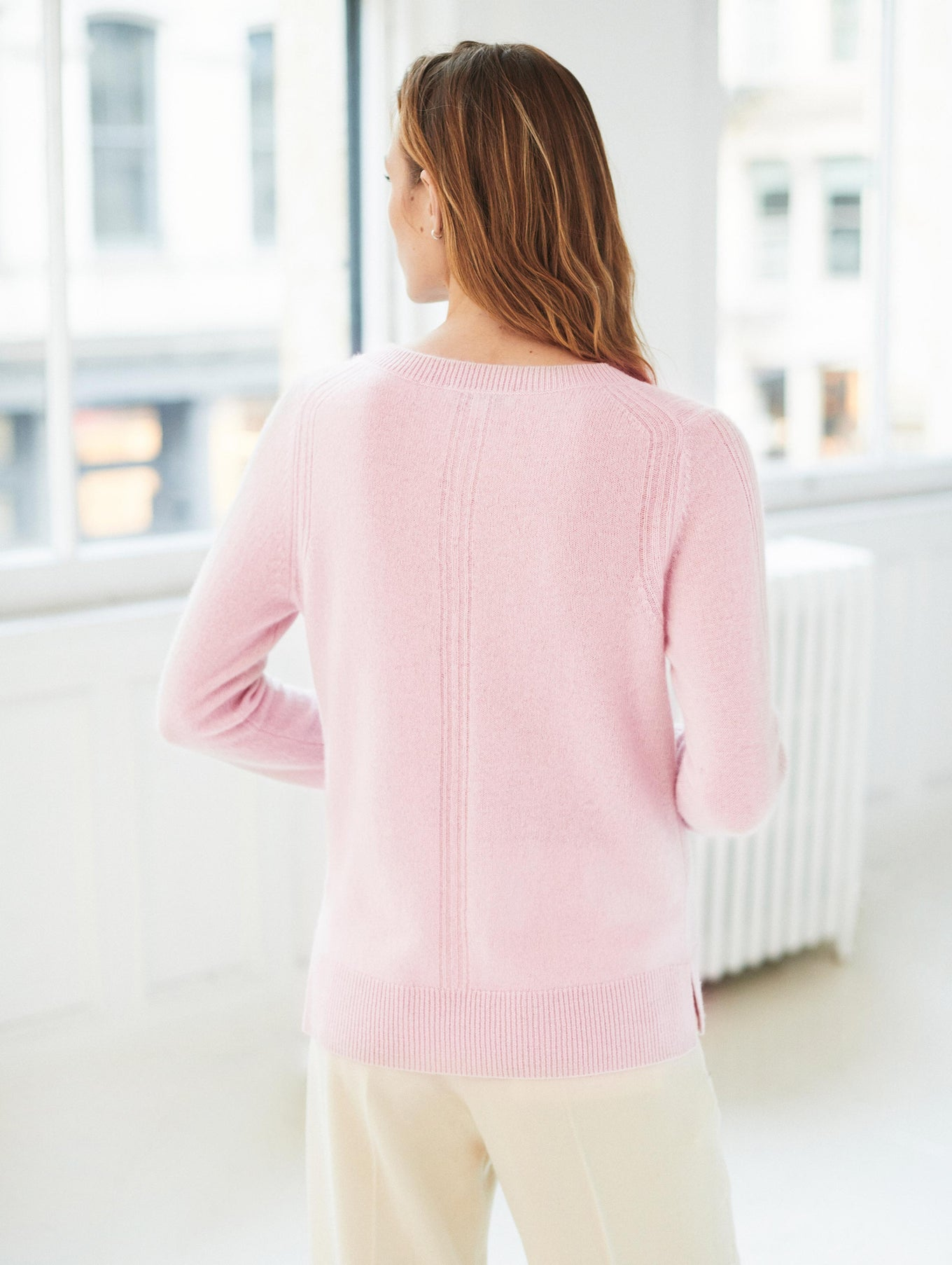 Cashmere High Rib V Neck