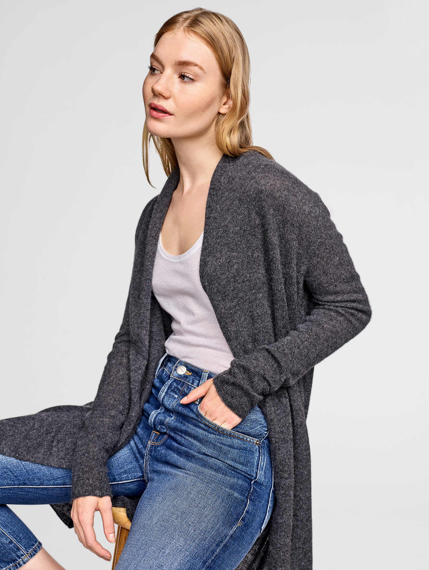 Essential Cashmere Trapeze Cardigan - Charcoal Heather - Image 1