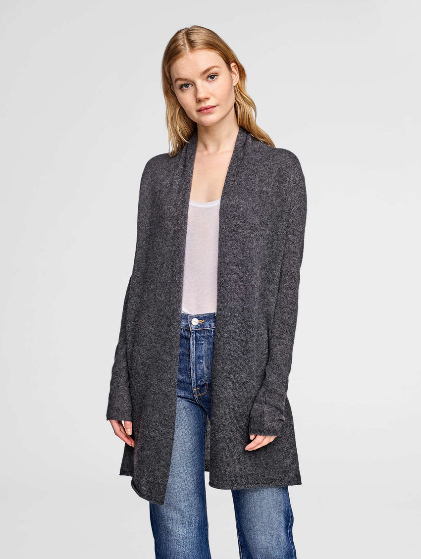 Essential Cashmere Trapeze Cardigan - Charcoal Heather - Image 2