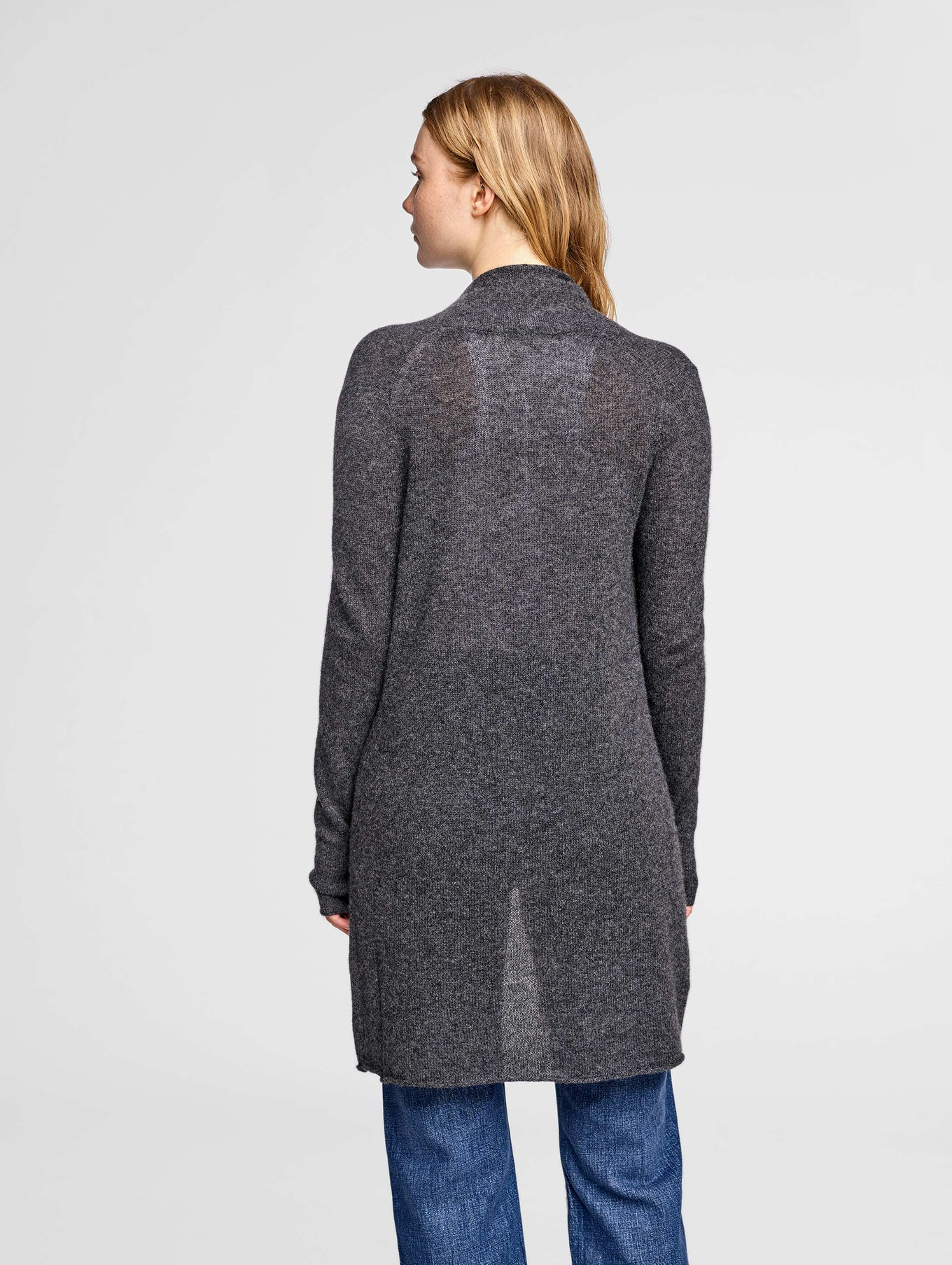 Essential Cashmere Trapeze Cardigan - Charcoal Heather - Image 3