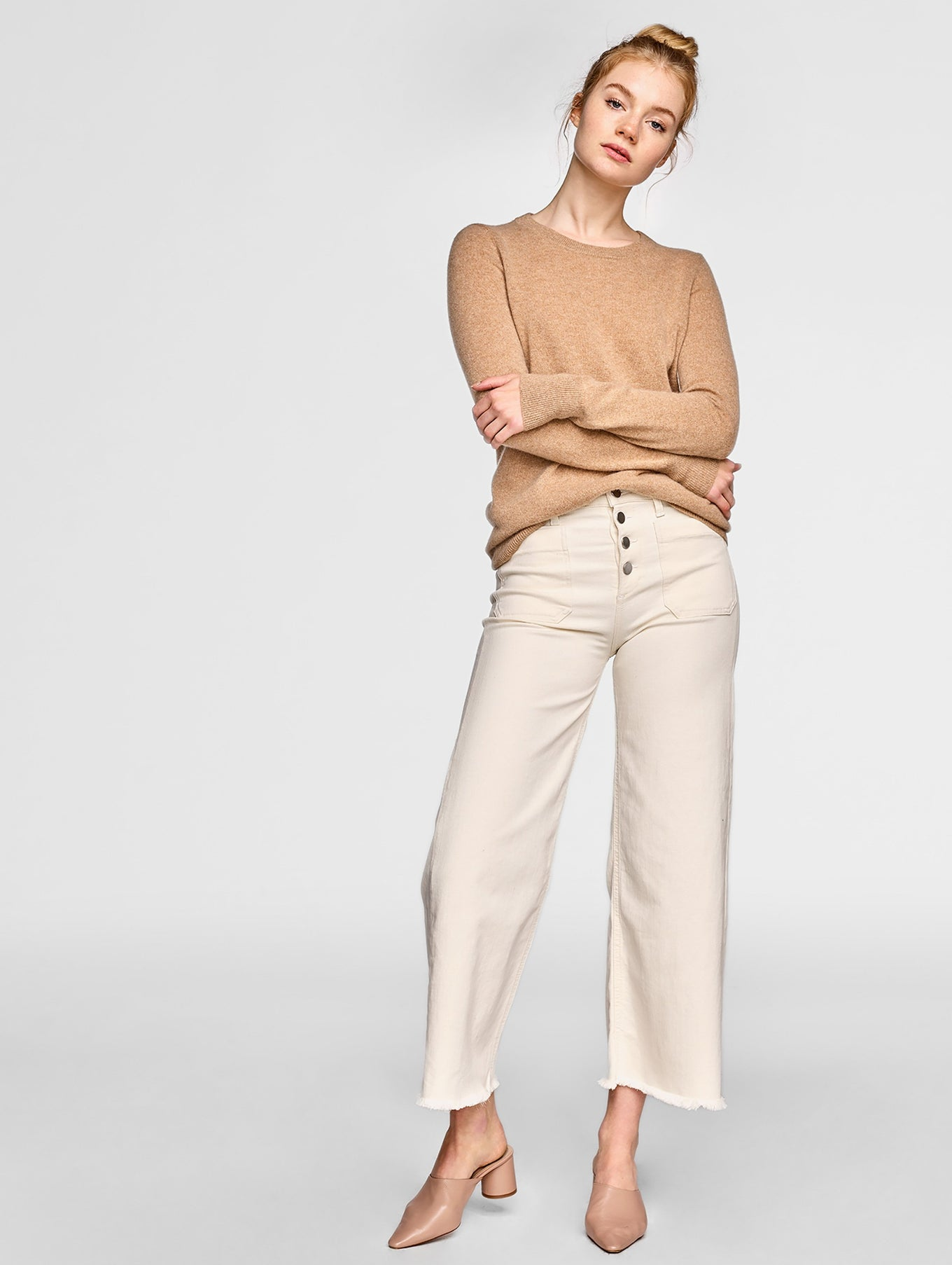 Essential Cashmere Crewneck - Camel Heather - Image 1