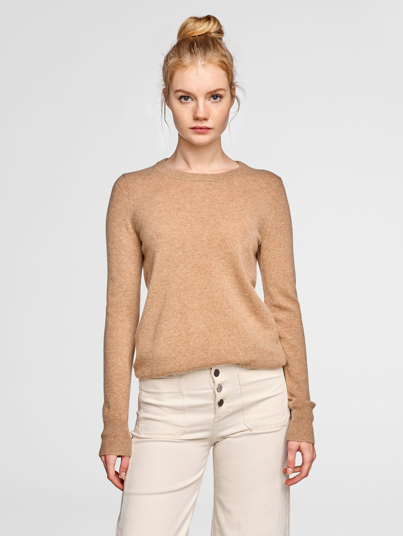 Essential Cashmere Crewneck - Camel Heather - Image 2