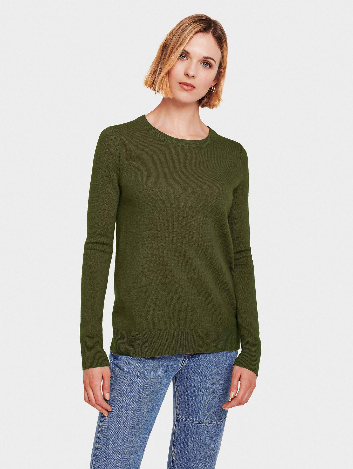 Essential Cashmere Crewneck - Olive Heather - Image 1
