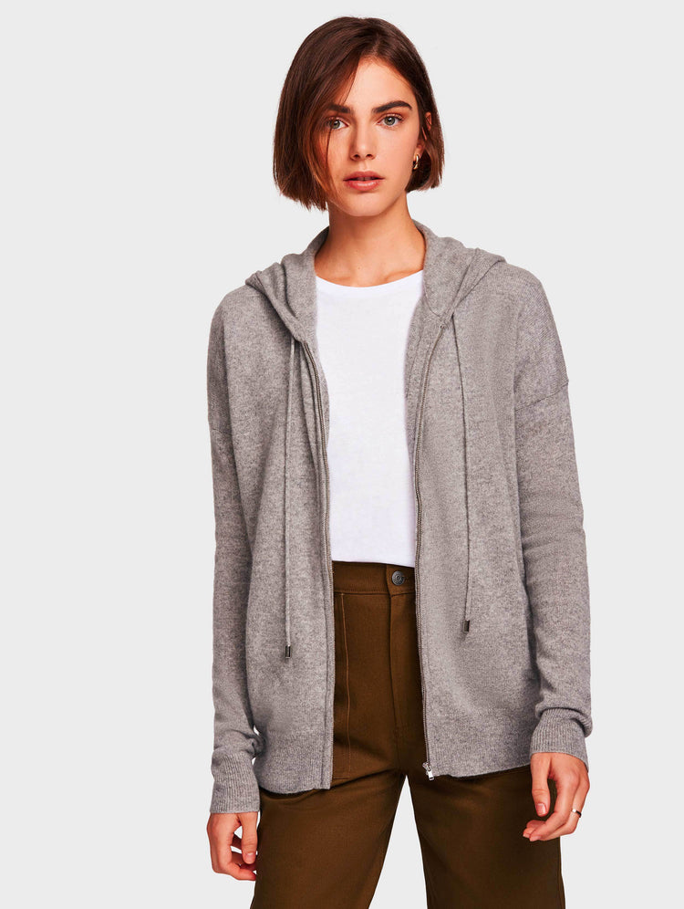 Essential Cashmere Zip Hoodie - Grey Heather - Image 1