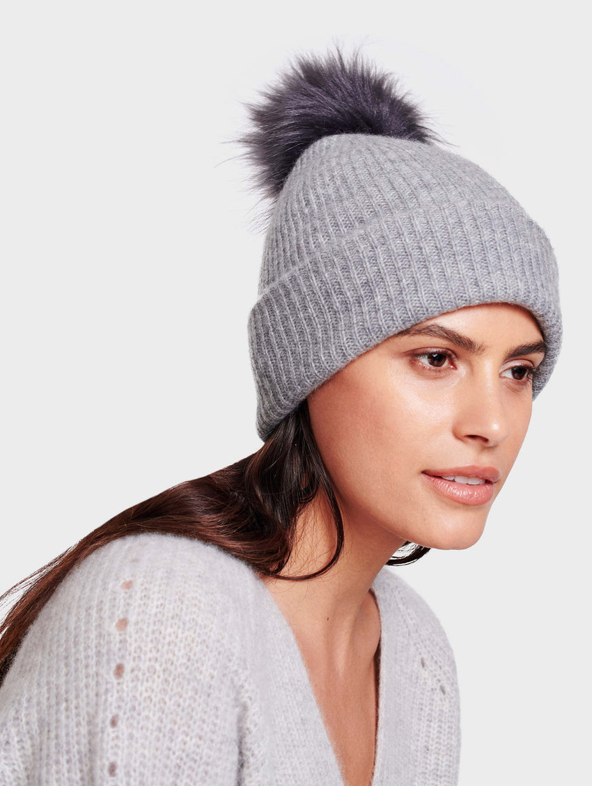 Plush Rib Beanie With Pom Pom