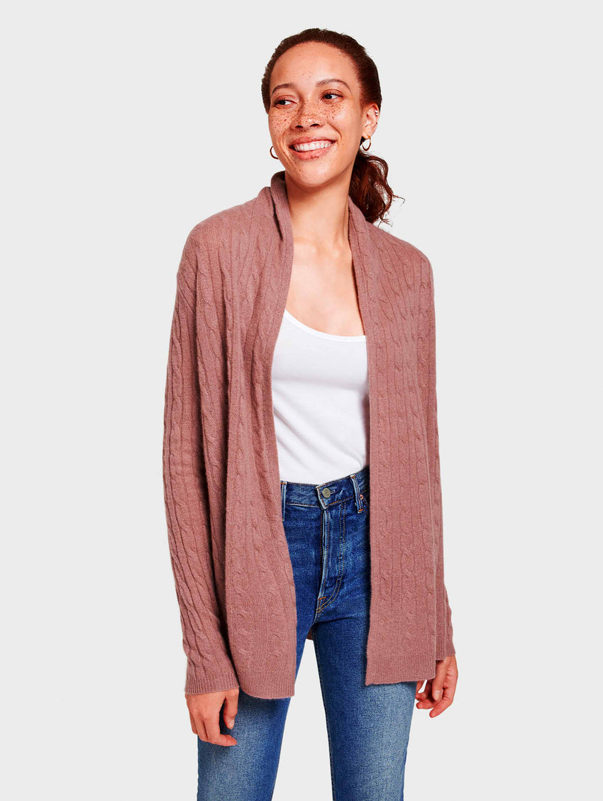 Cashmere Cable Cardigan - Smoky Quartz Heather - Image 2