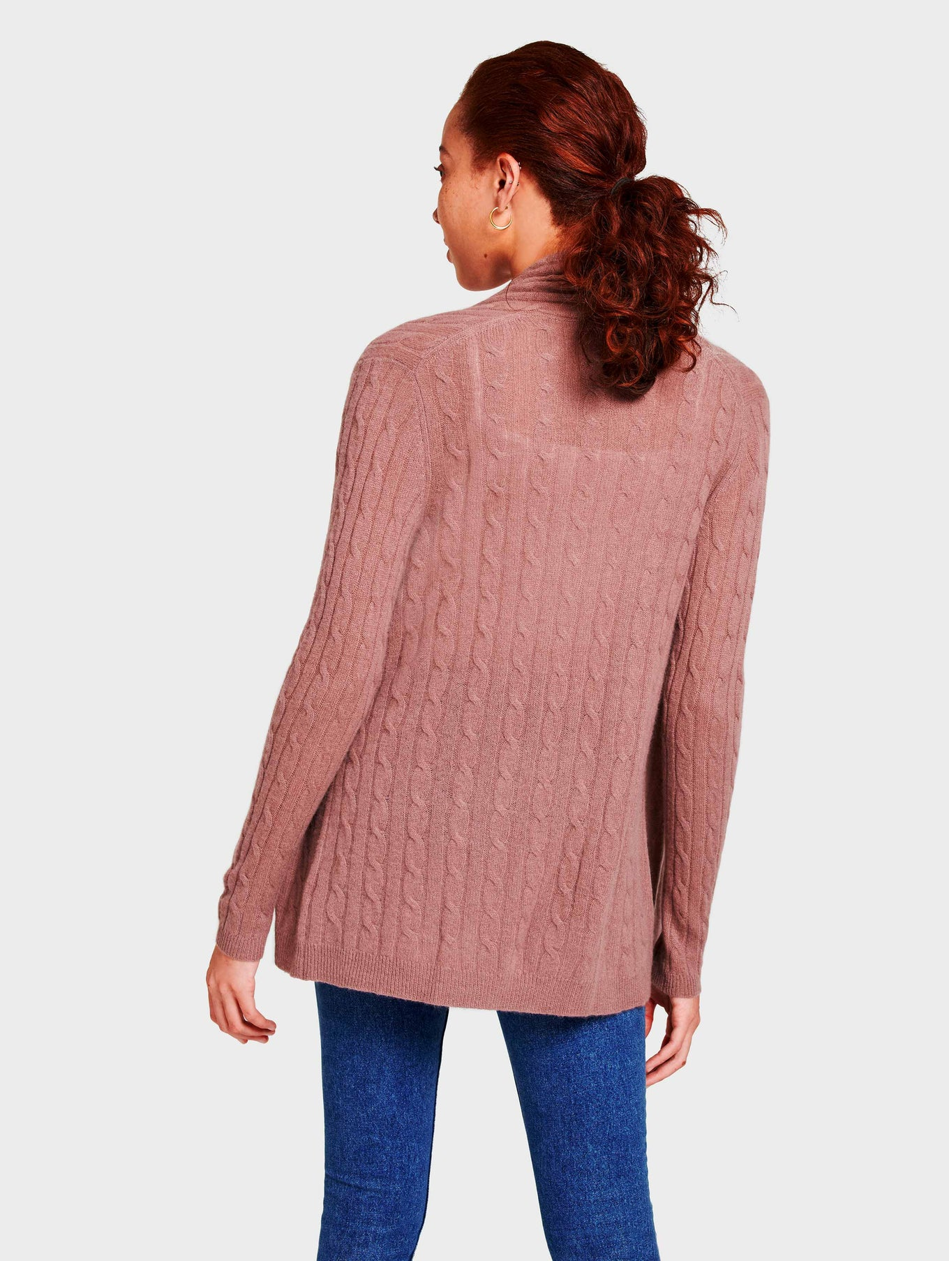 Cashmere Cable Cardigan - Smoky Quartz Heather - Image 3