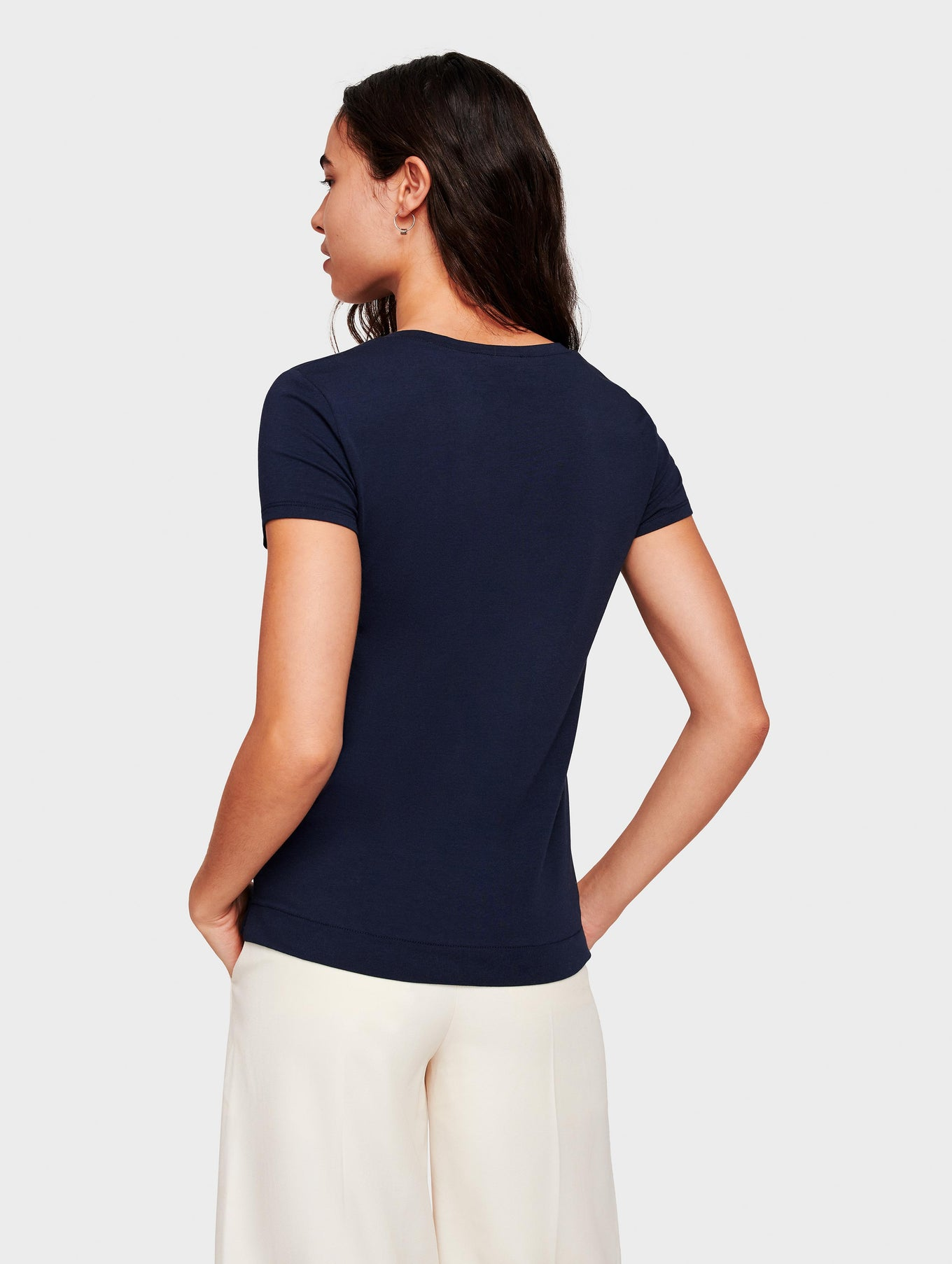 Cotton Modal Short Sleeve Tee - Navy - Image 3