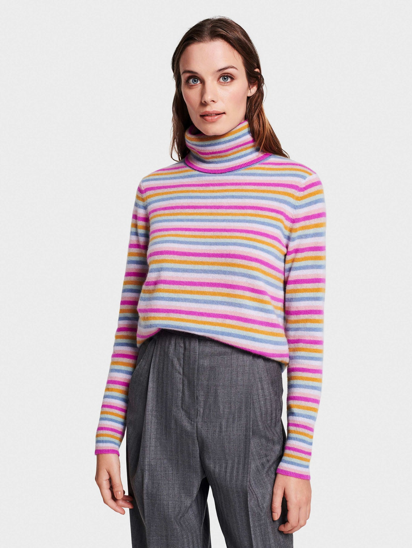 Multi Stripe Essential Cashmere Turtleneck