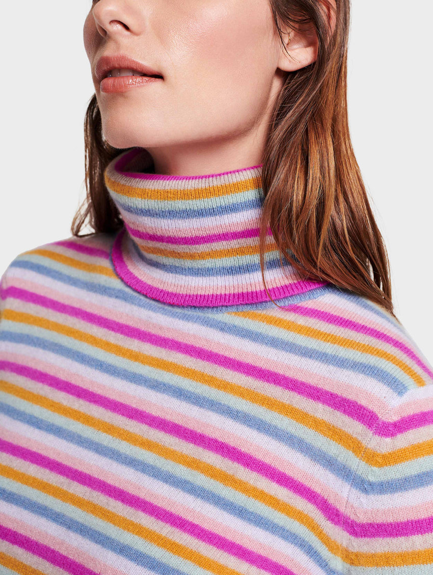 Multi Stripe Cashmere Turtleneck
