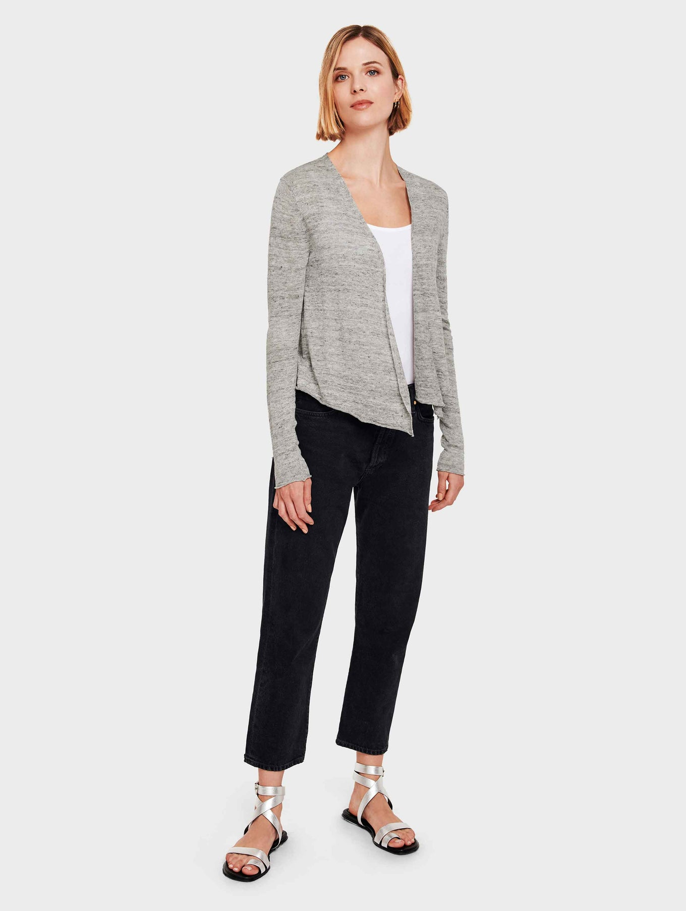 Linen Cropped Swing Cardigan - Shadow Heather - Image 4
