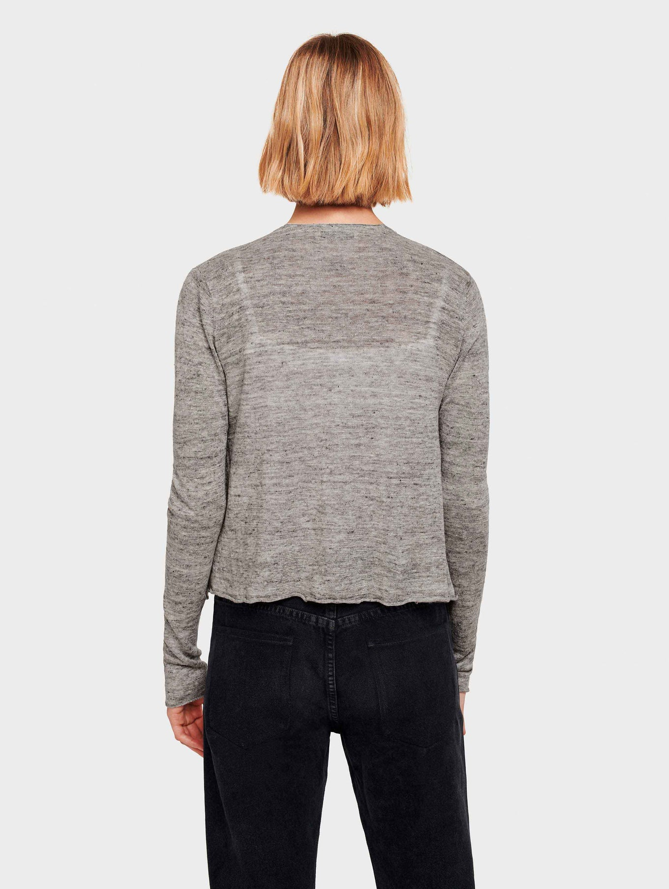 Linen Cropped Swing Cardigan - Shadow Heather - Image 3
