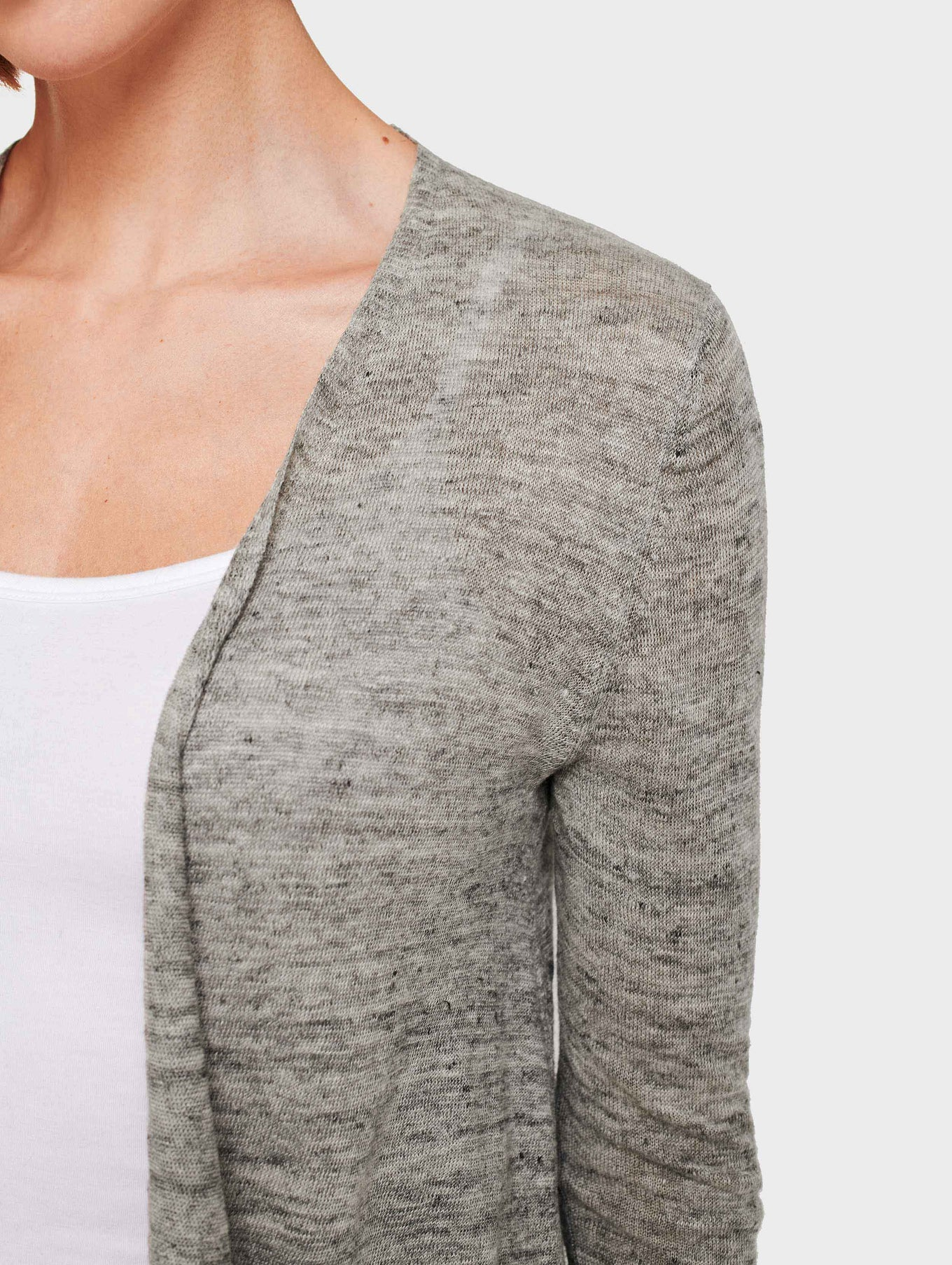 Linen Cropped Swing Cardigan - Shadow Heather - Image 2