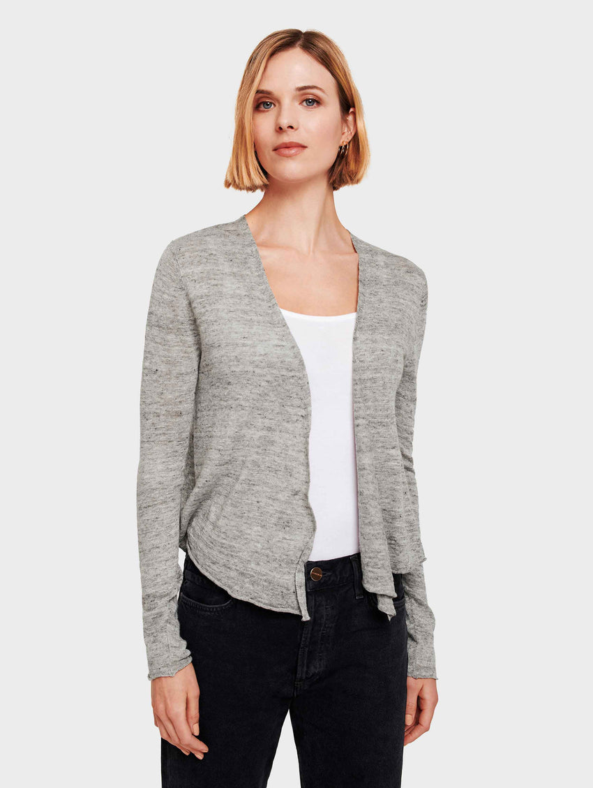 Linen Cropped Swing Cardigan - Shadow Heather - Image 1