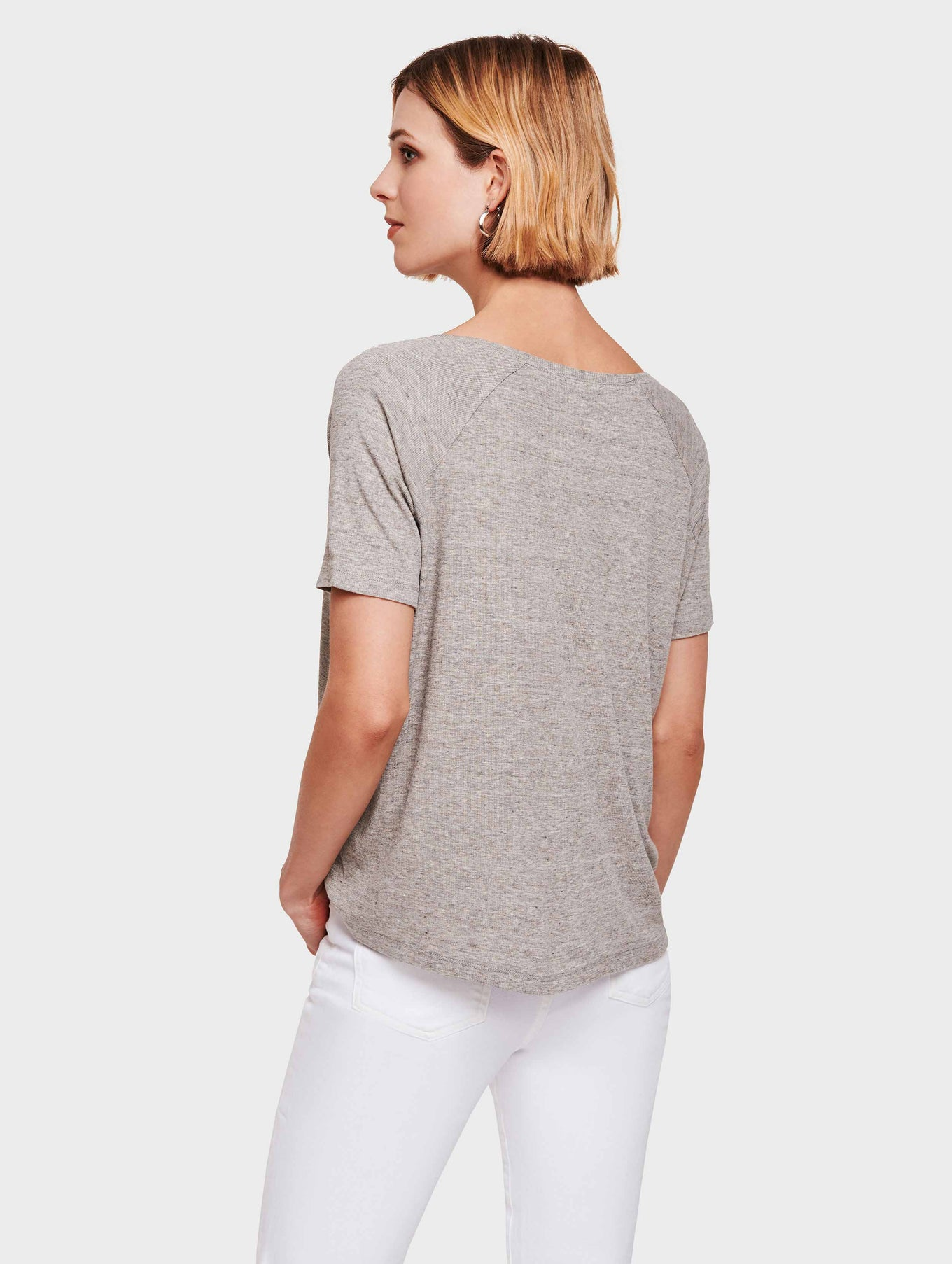 Rib Jersey Easy Crewneck Top - Grey Heather - Image 3