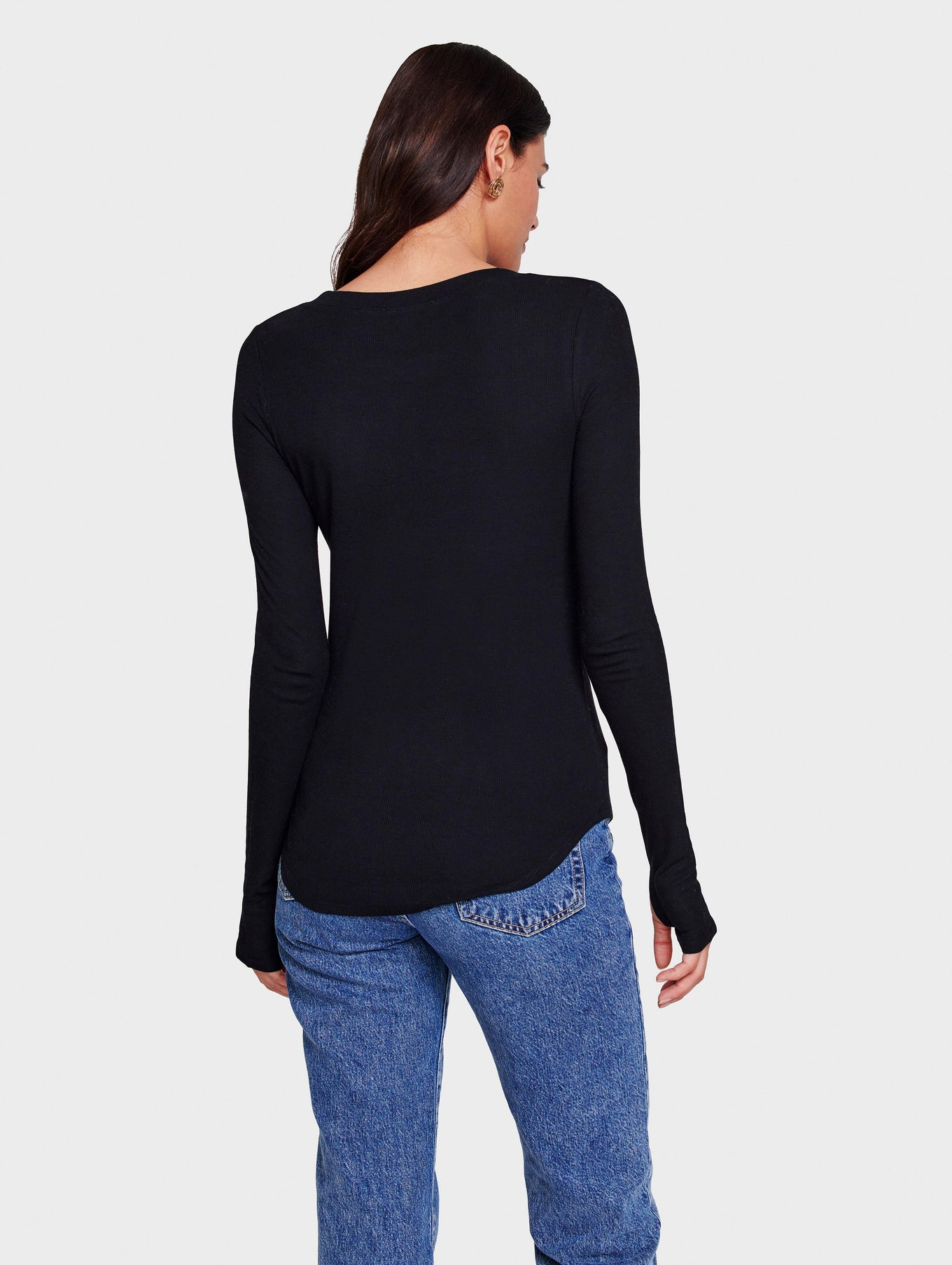 RIB JERSEY FITTED CREWNECK - Black - Image 3
