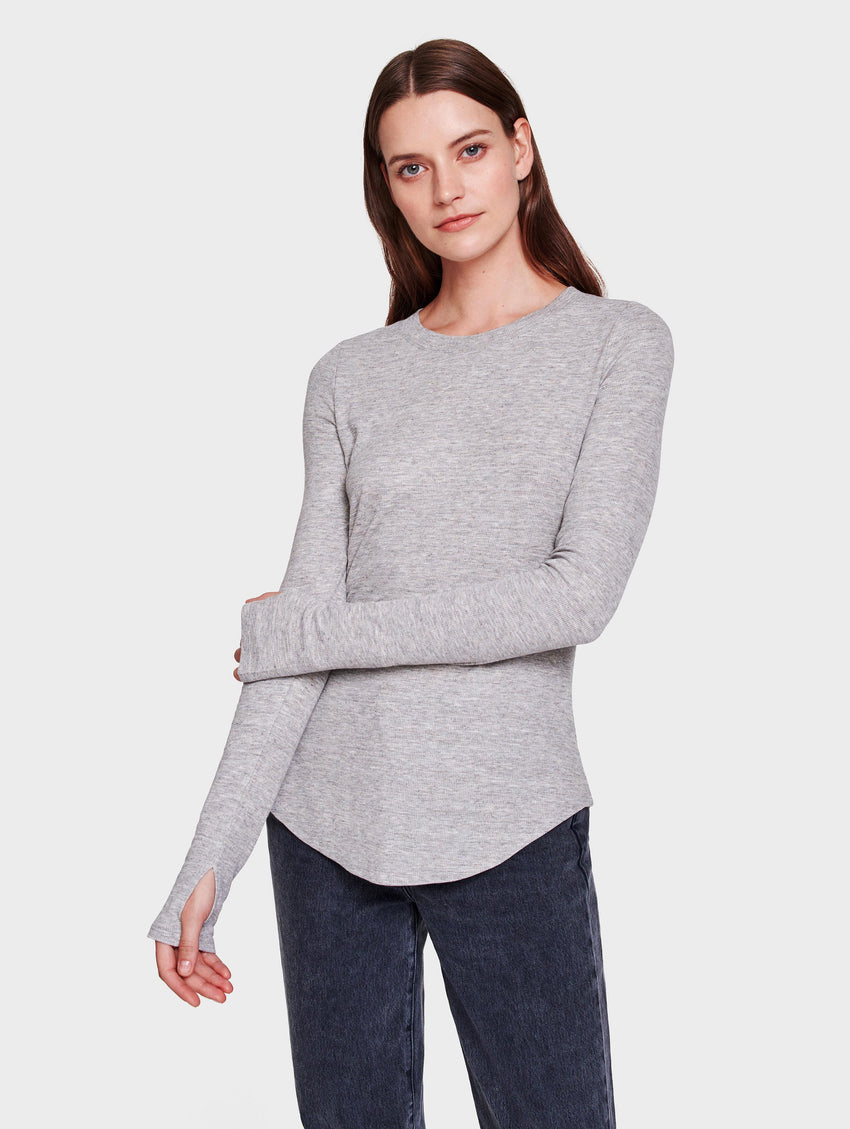 RIB JERSEY FITTED CREWNECK - Grey Heather - Image 1