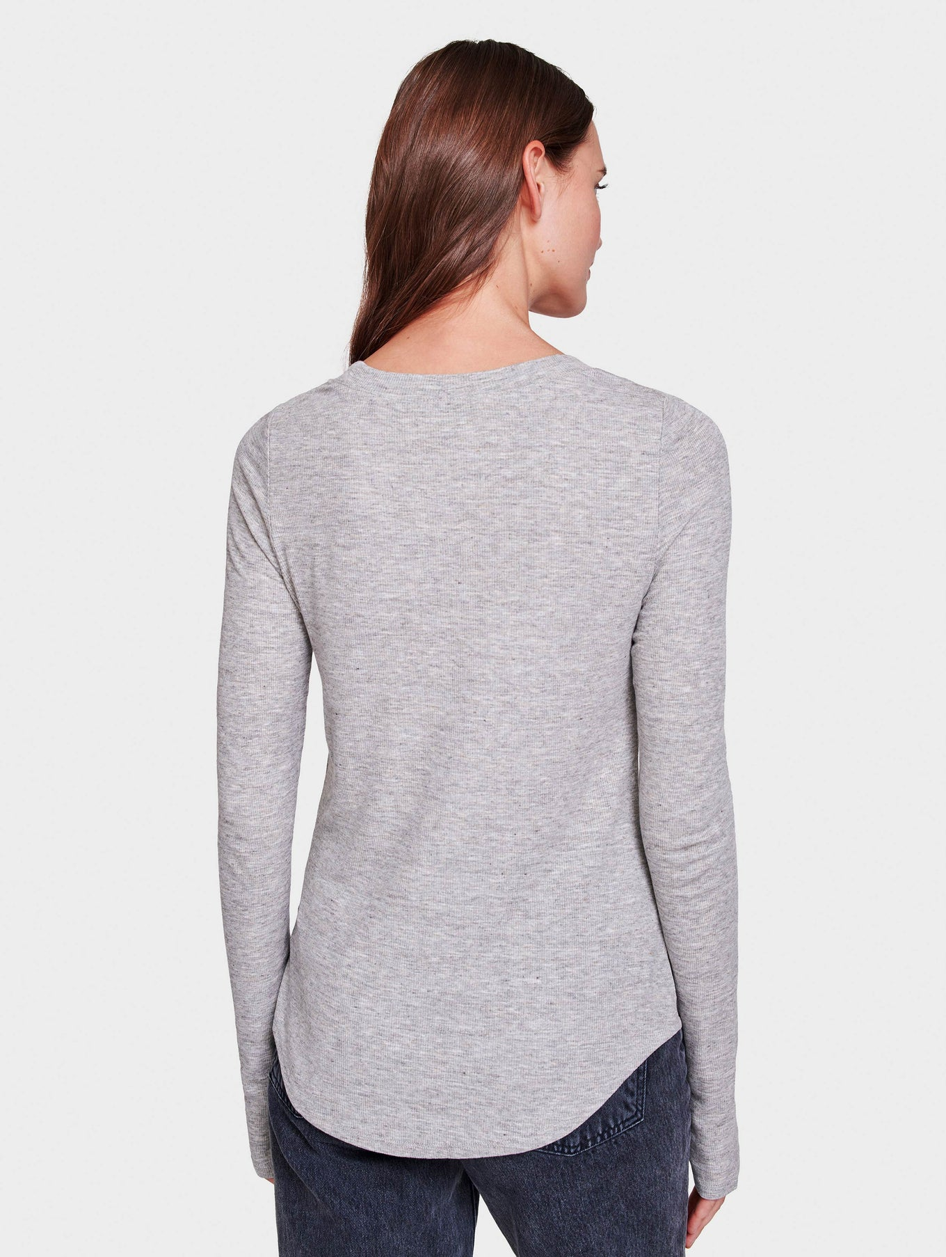 RIB JERSEY FITTED CREWNECK - Grey Heather - Image 3
