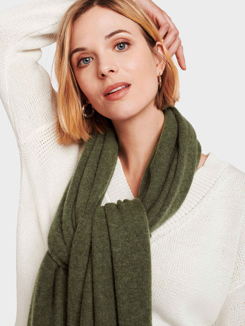 Mini Cashmere Travel Wrap - Olive Heather - Image 1
