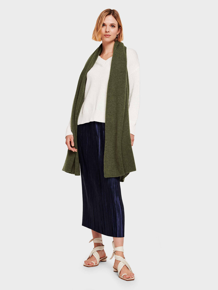 Mini Cashmere Travel Wrap - Olive Heather - Image 2