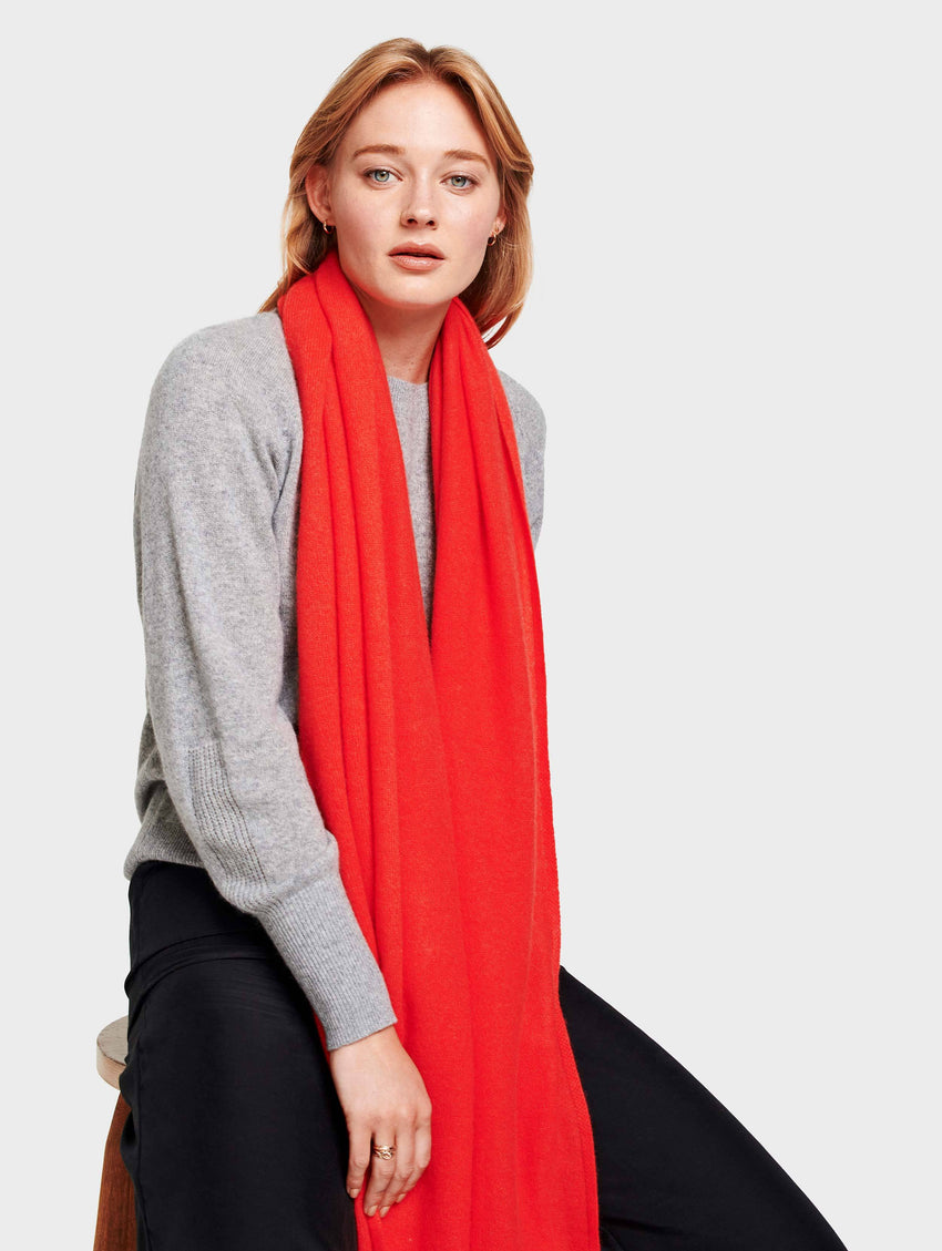 Mini Cashmere Travel Wrap - Sunset Red Heather - Image 1