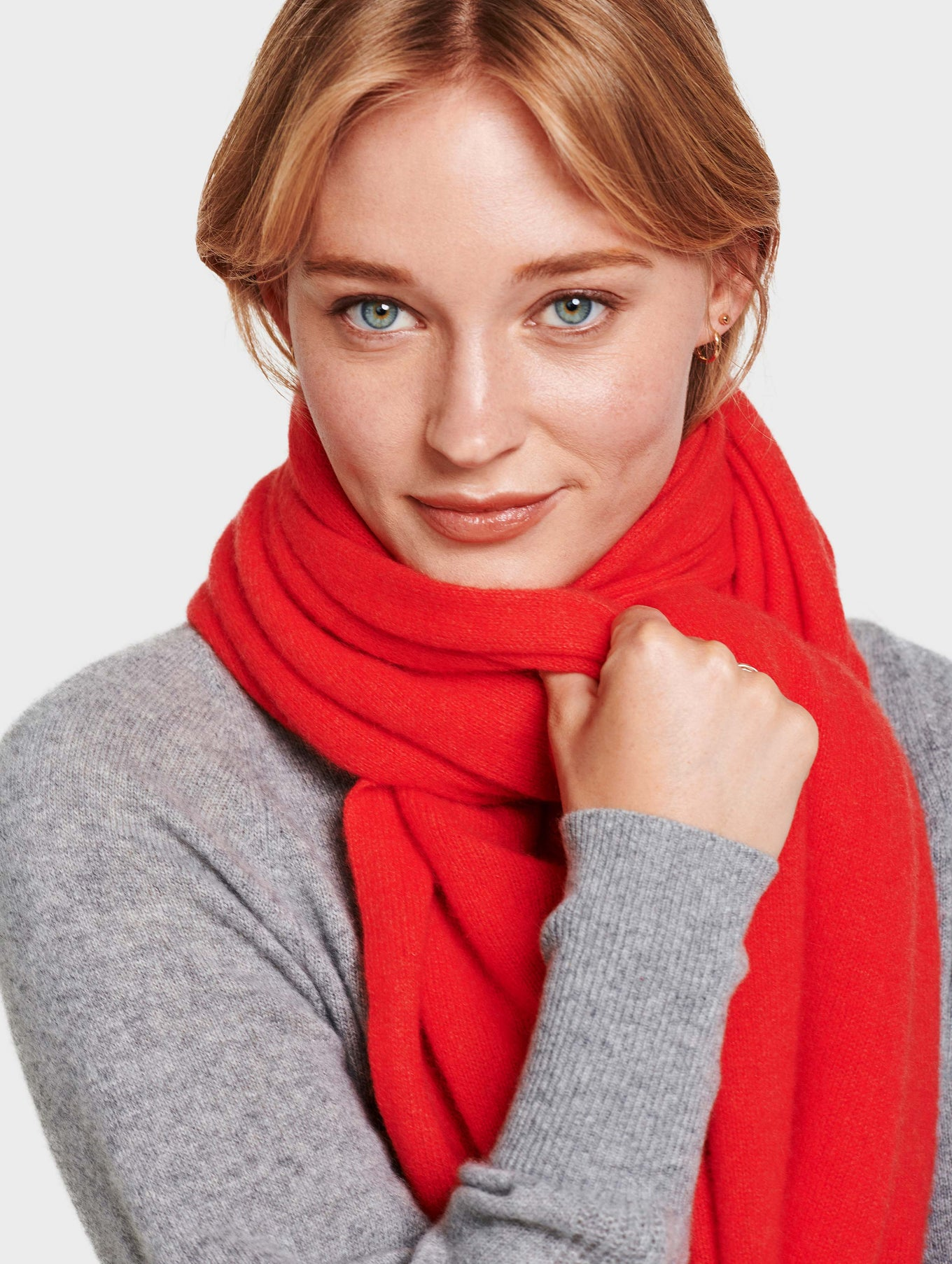 Mini Cashmere Travel Wrap - Sunset Red Heather - Image 2