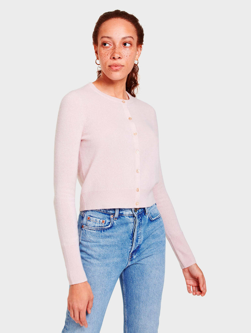 Essential Cashmere Crewneck Cardigan - Blooming Pink Heather - Image 1