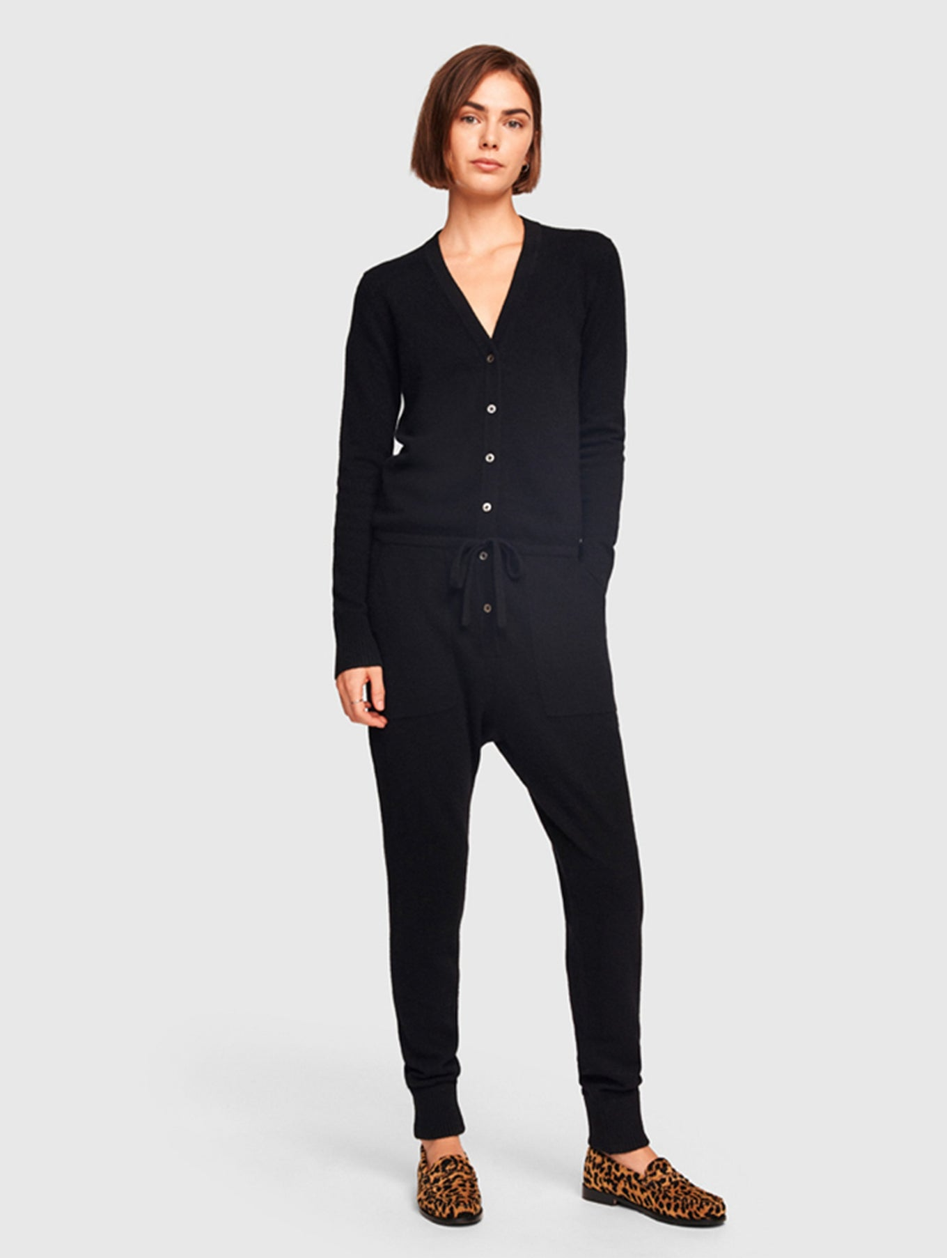Cashmere V Neck Jumpsuit