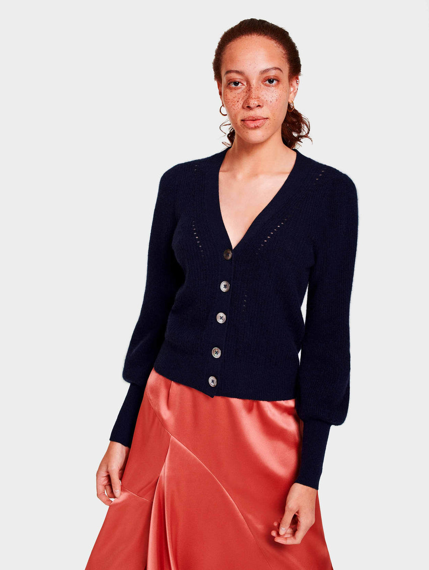 Cashmere Exaggerated Puff Sleeve Cardigan - Deep Navy - Image 2